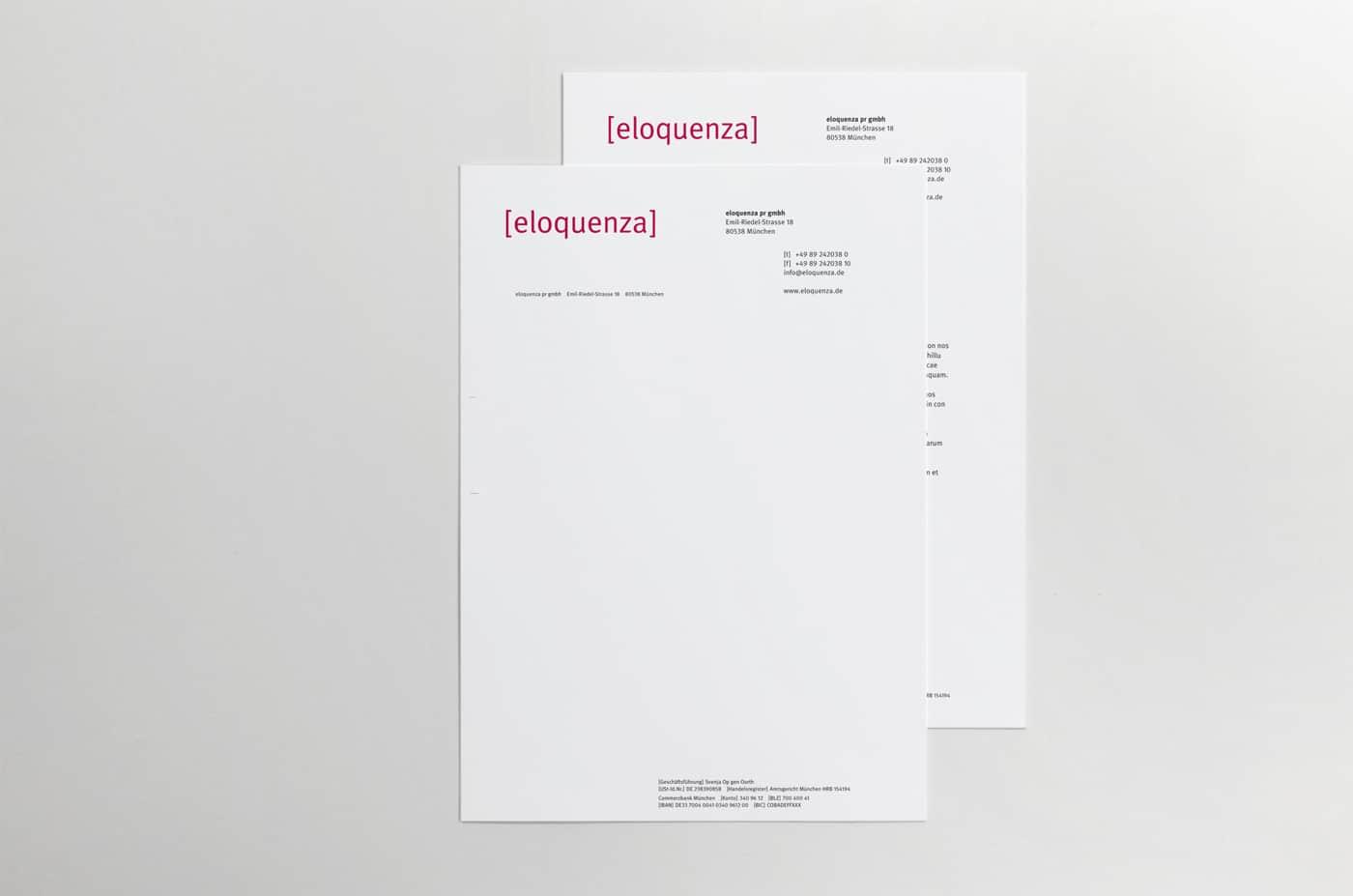 Briefbogen PR-Agentur eloquenza