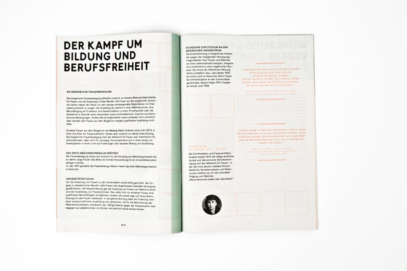 Doppelseite Broschüre zur Ausstellung 100 Jahre Frauenwahlrecht