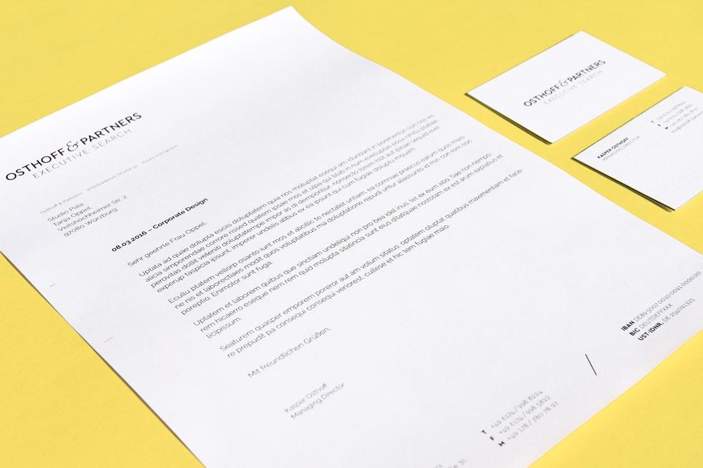 Visitenkarte + Briefbogen Osthoff & Partners