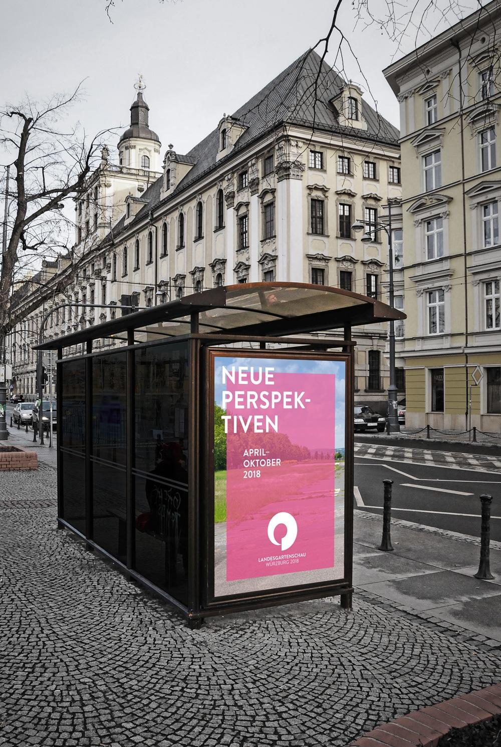 Plakatierung Haltestelle Landesgartenschau Würzburg