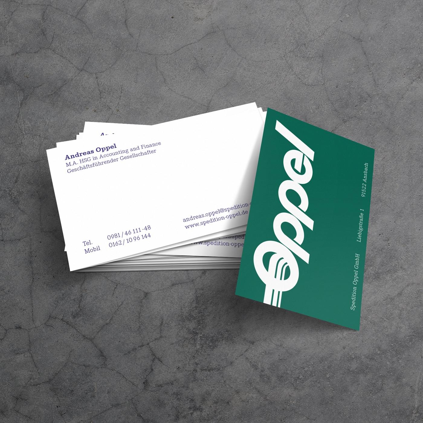 Visitenkarten für Spedition Oppel Ansbach