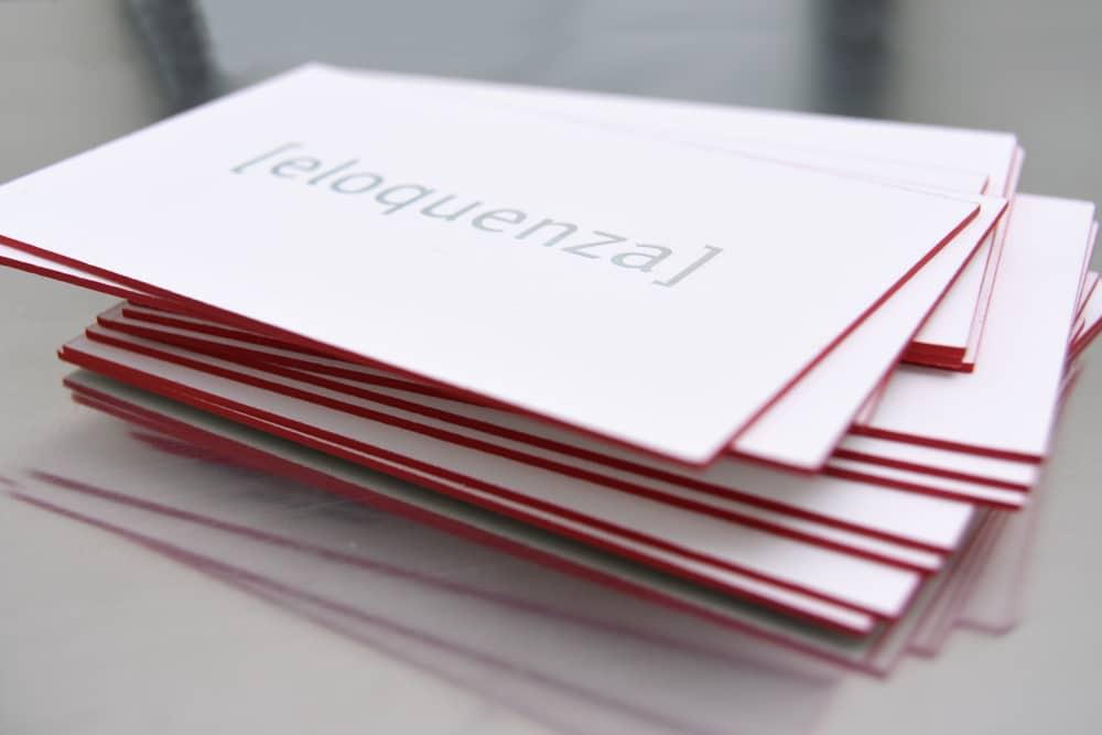 Letterpress Visitenkarten PR-Agentur eloquenza