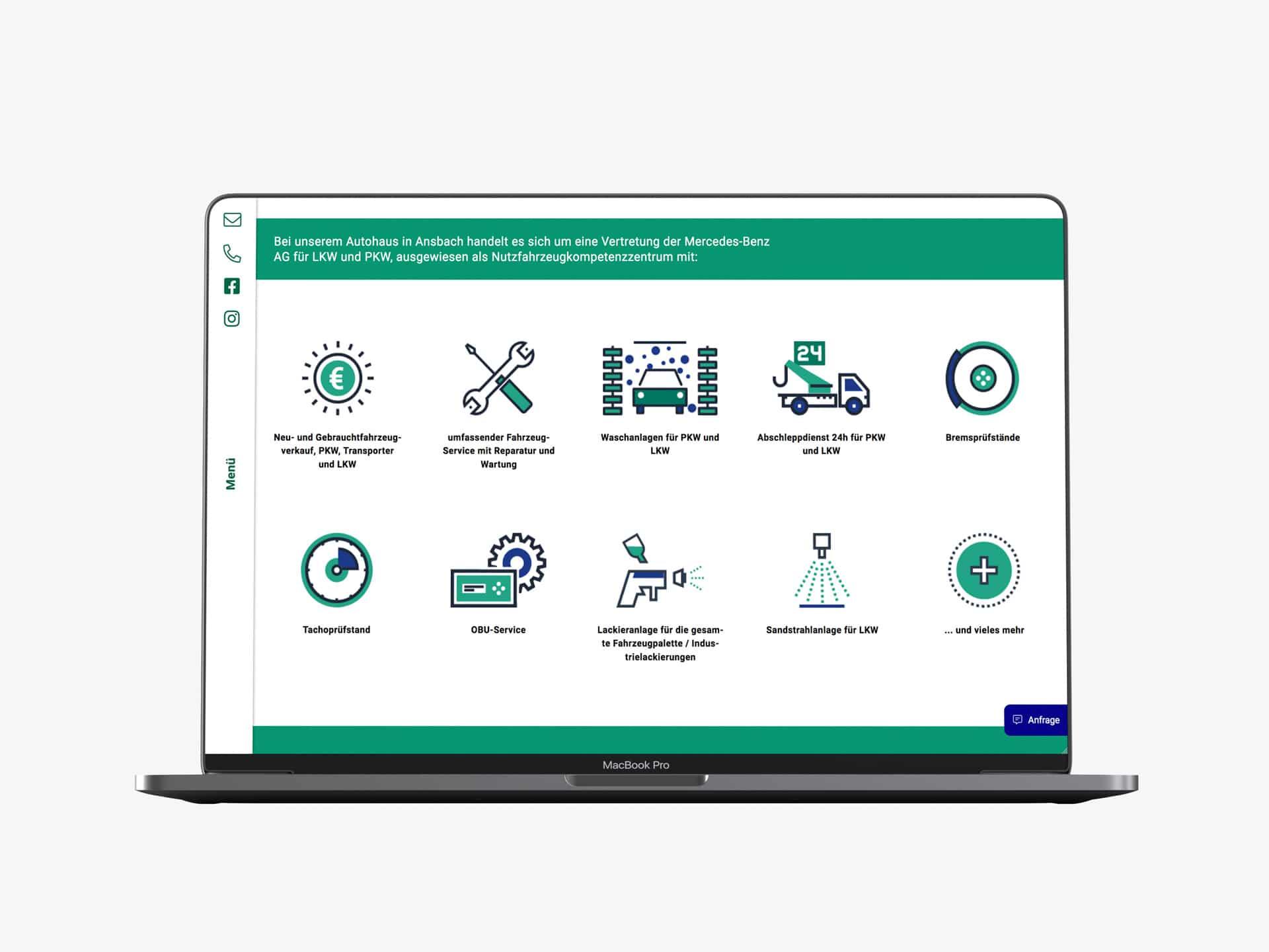 Desktop Screen Icons Leistungen Webdesign Spedition Oppel