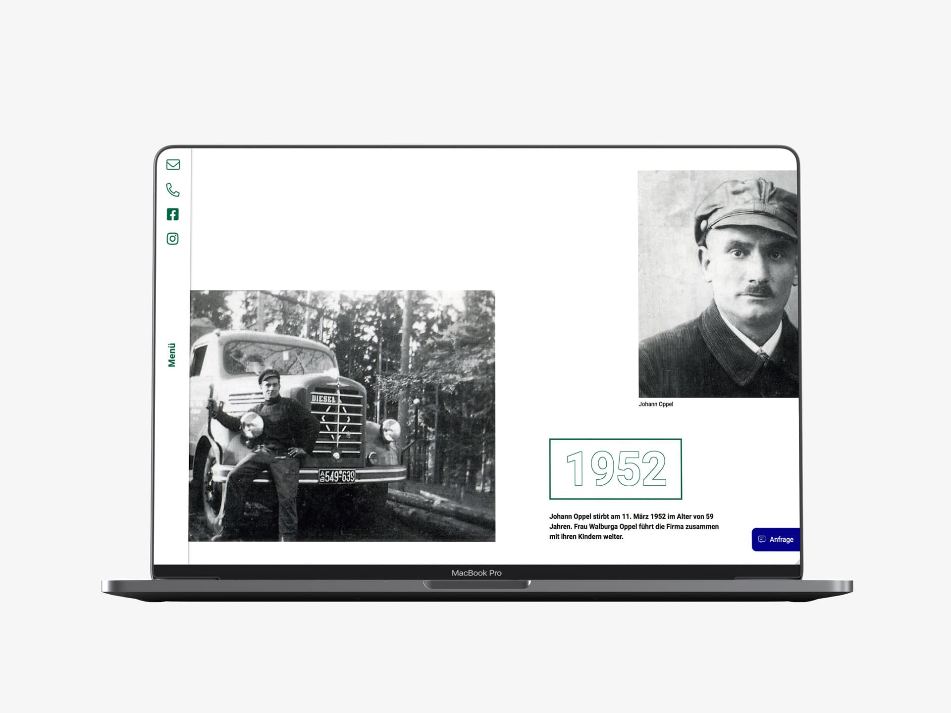 Desktop Screen Historie Webdesign Spedition Oppel