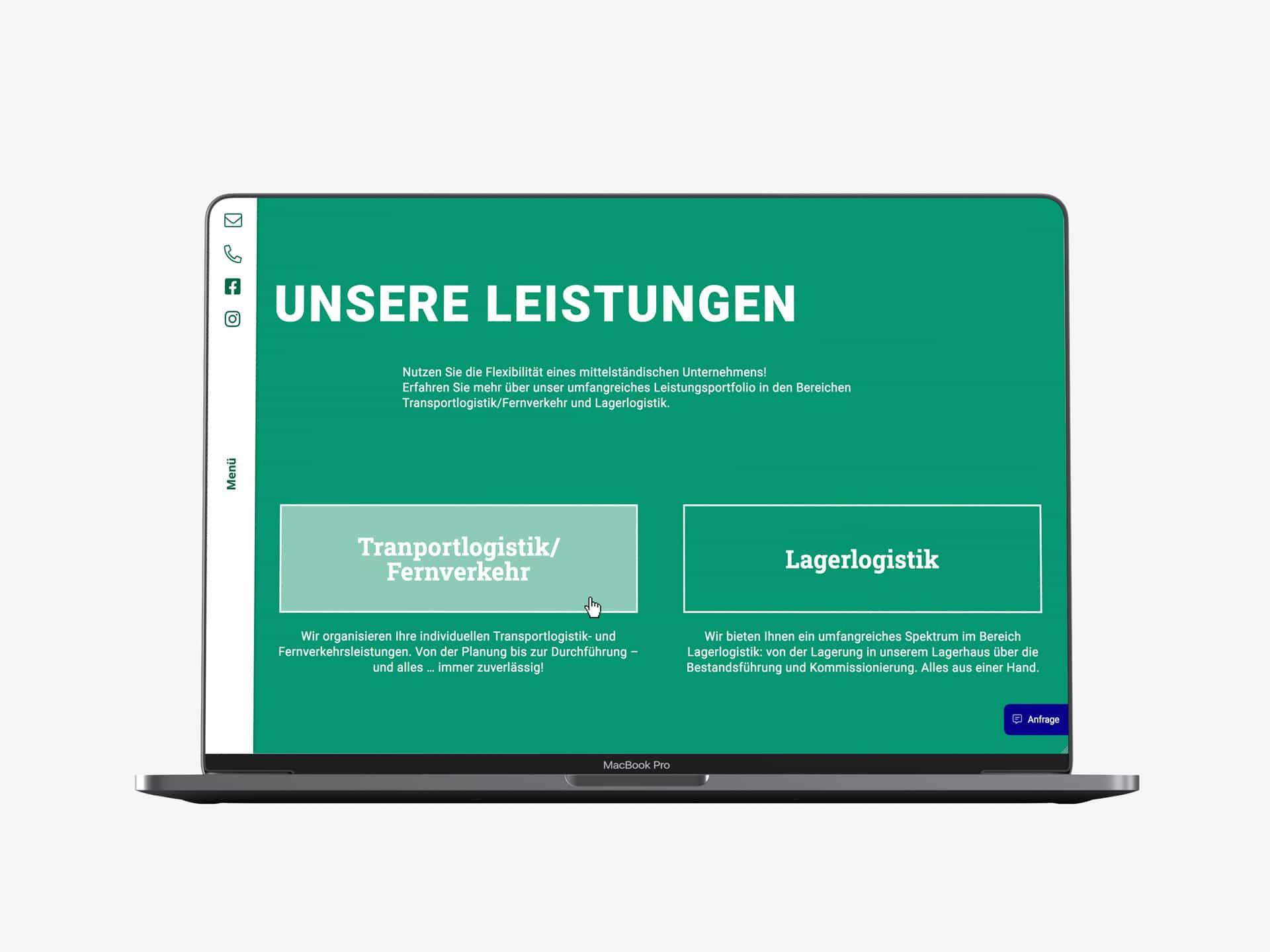Desktop Screen Leistungen Webdesign Spedition Oppel