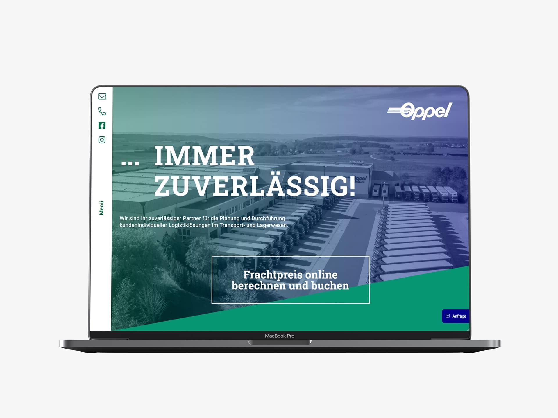 Desktop Screen Startseite Webdesign Spedition Oppel