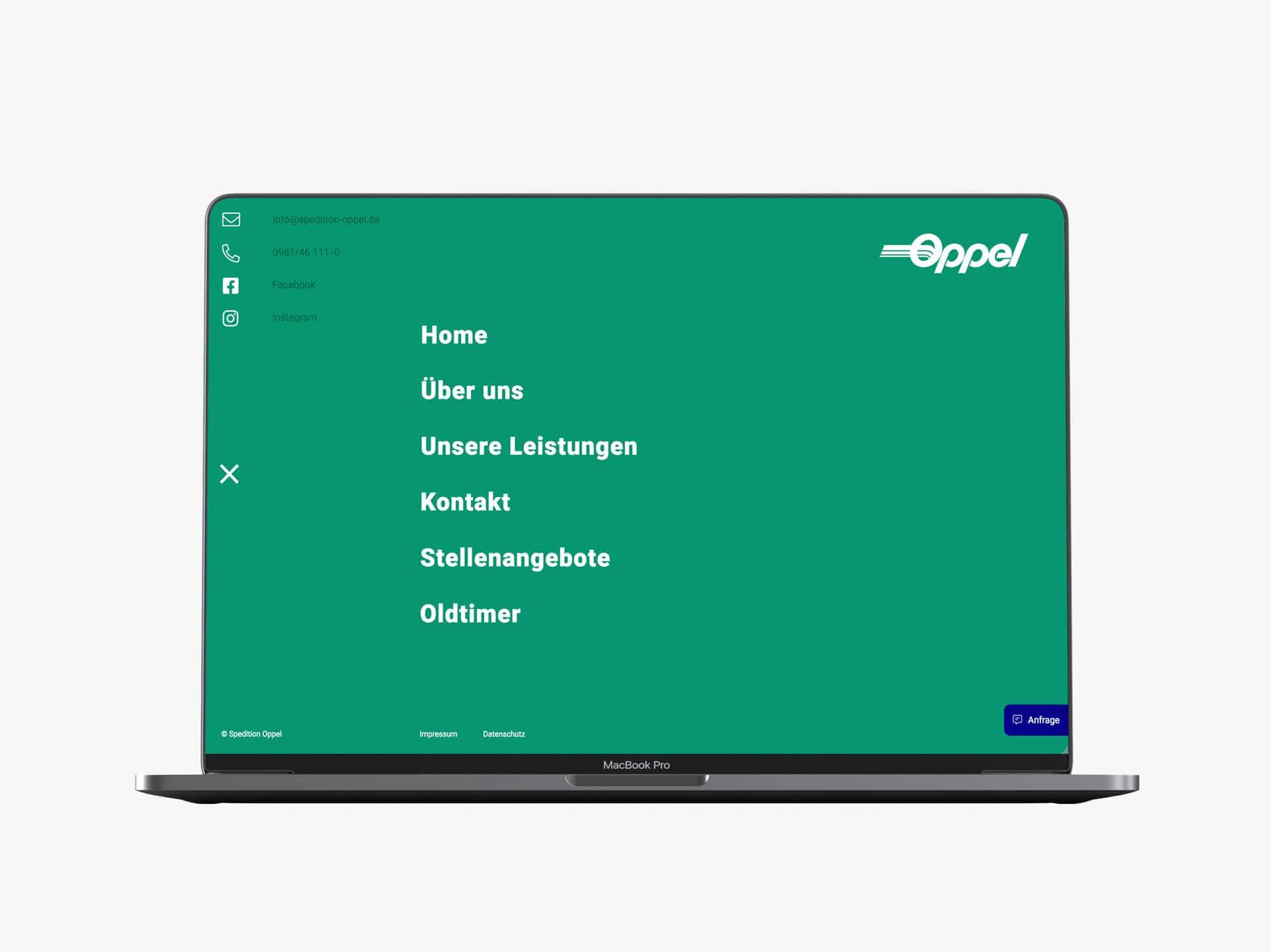 Desktop Screen Menü Webdesign Spedition Oppel
