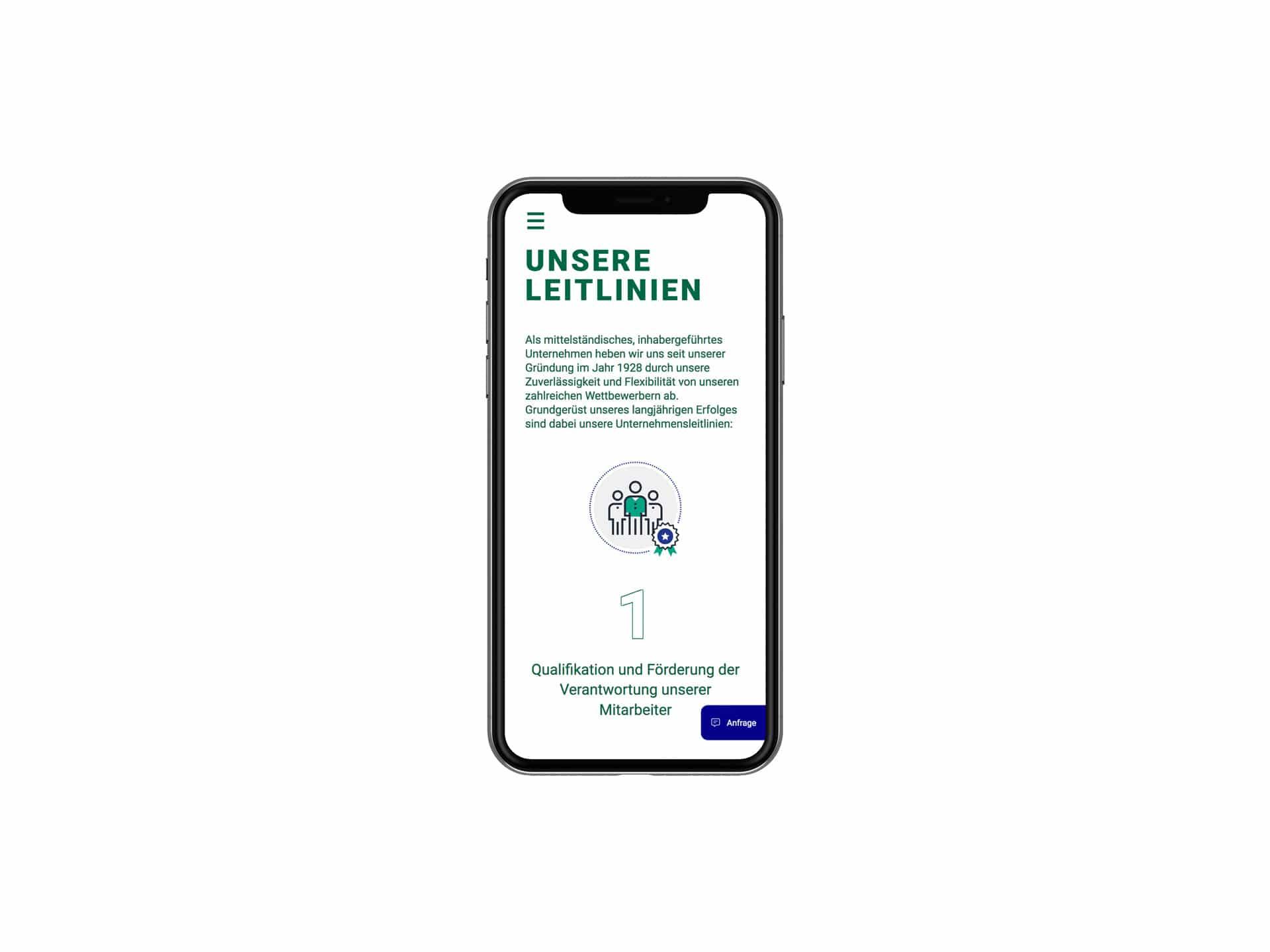 Mobile Screen Inhaltsseite Webdesign Spedition Oppel