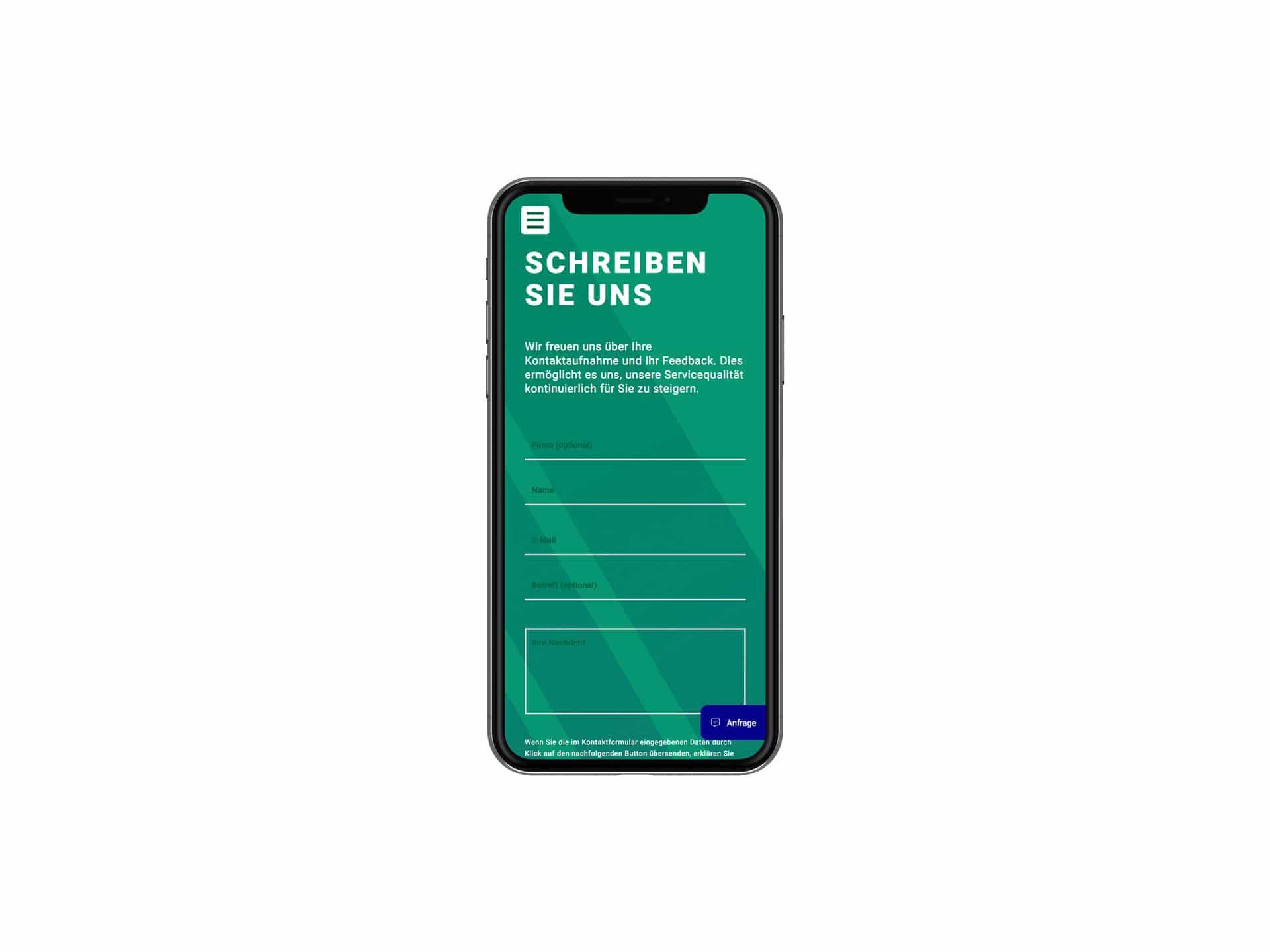 Mobile Screen Kontaktformular Webdesign Spedition Oppel