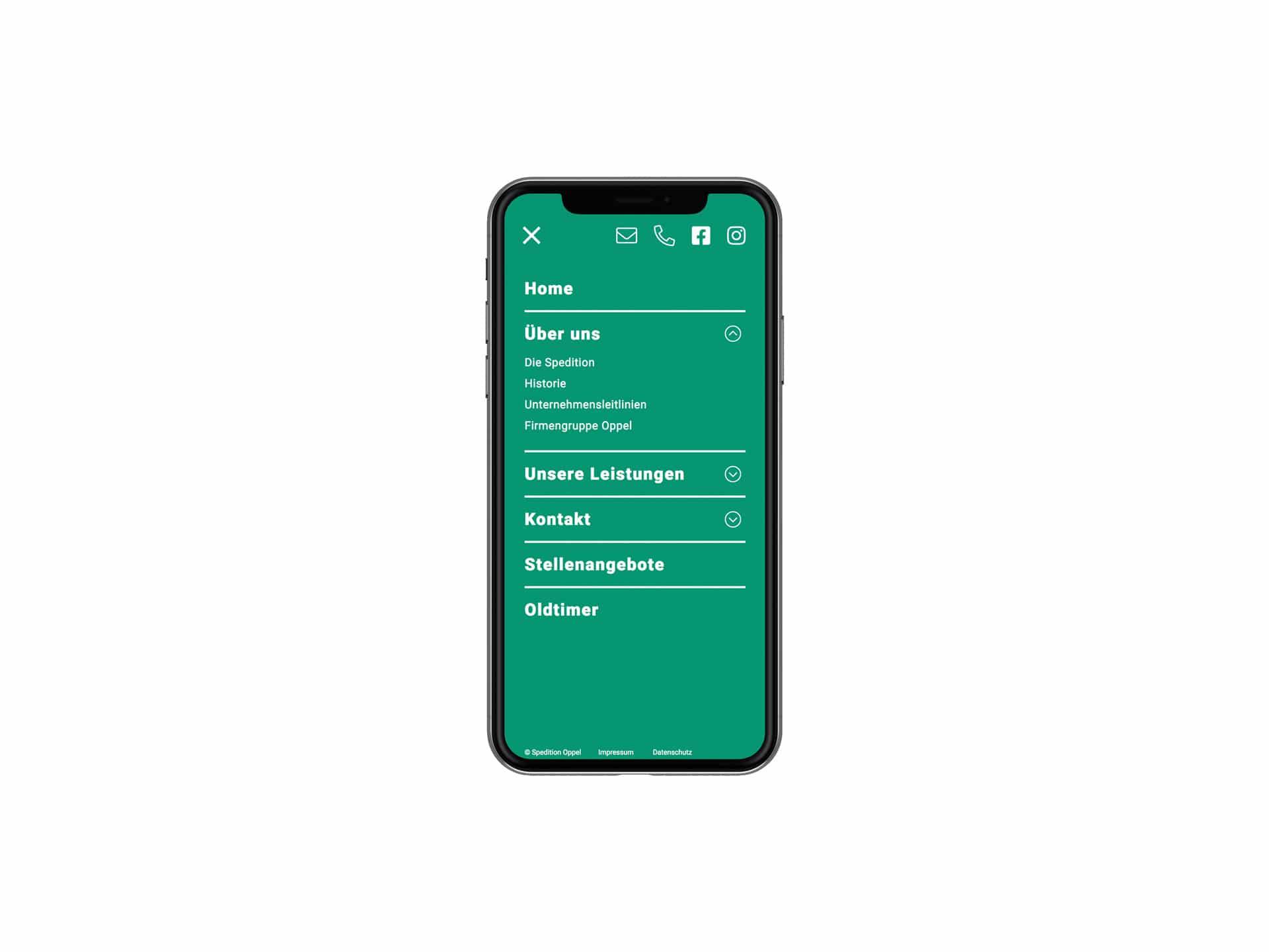 Mobile Screen Menü Webdesign Spedition Oppel