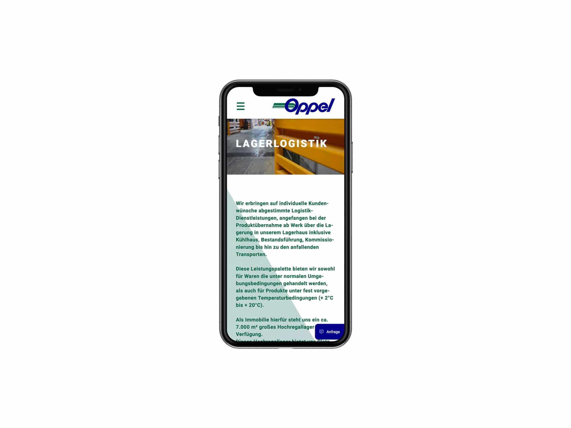 Mobile Screen Leistungsseite Webdesign Spedition Oppel