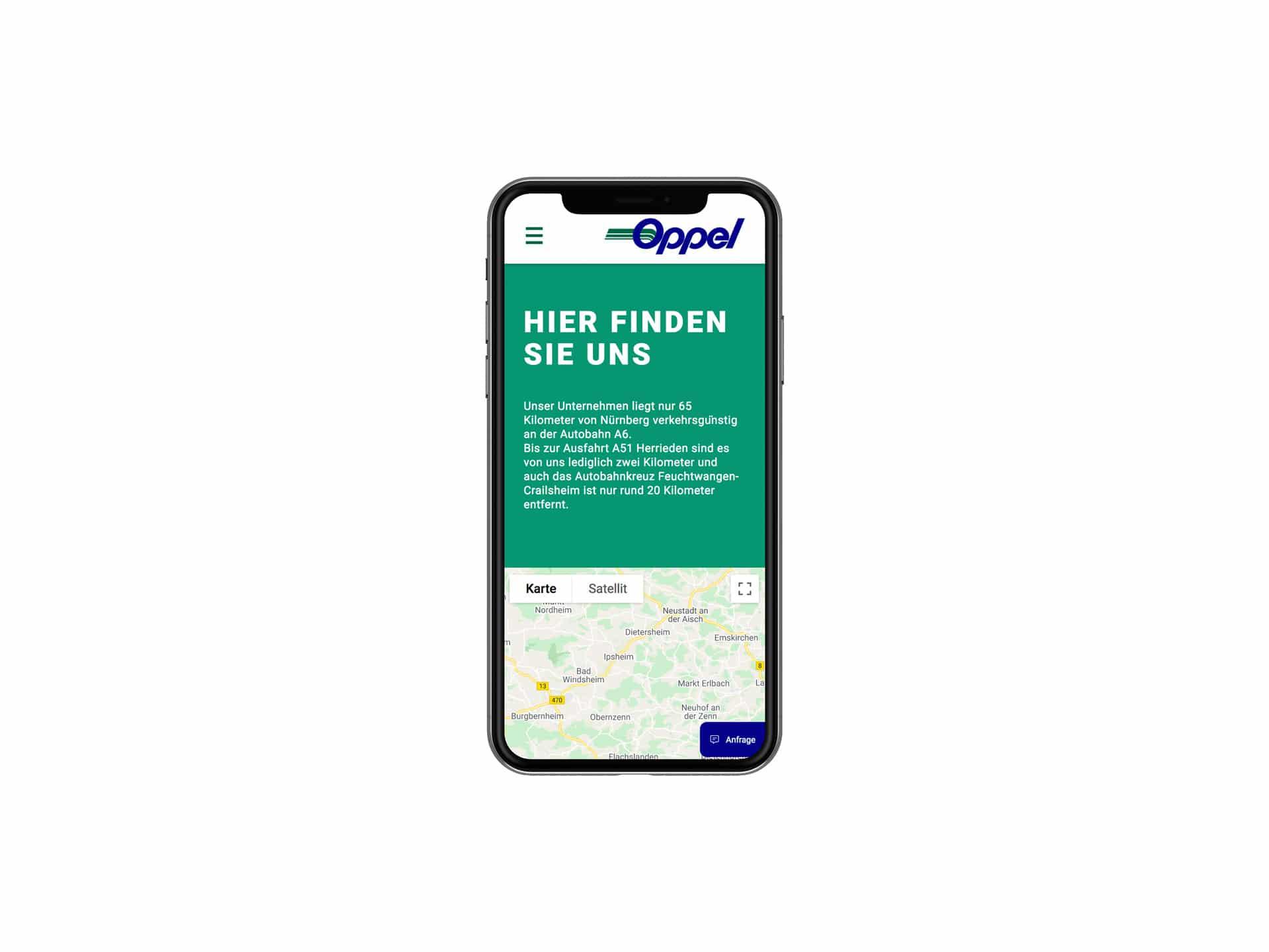 Mobile Screen Kontaktseite Webdesign Spedition Oppel