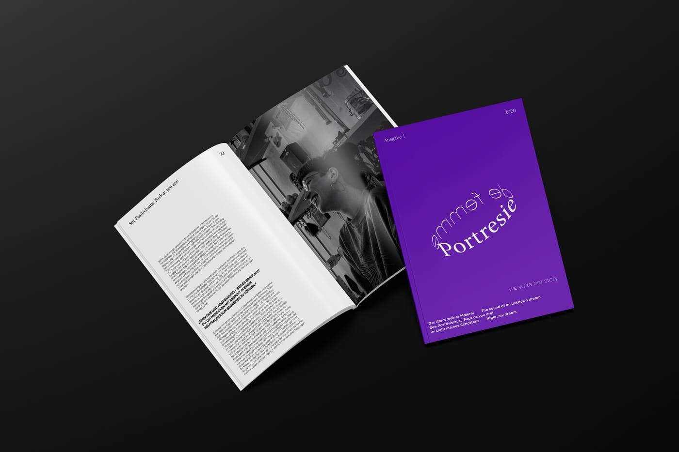 Magazin-Layout für Portresie de femme