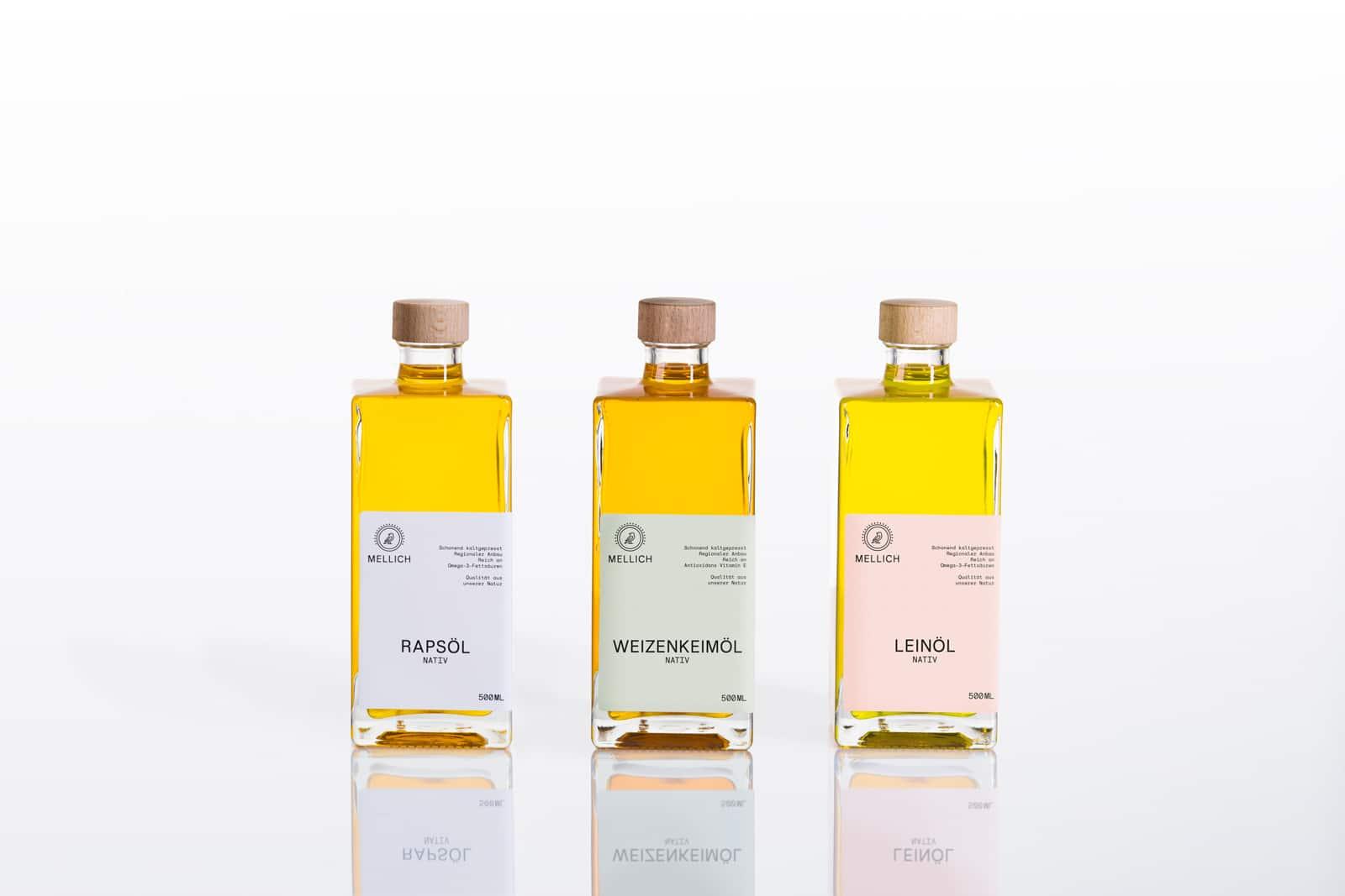 Mellich Öl Etikettendesign Rapsöl, Weizenkeimöl, Leinöl