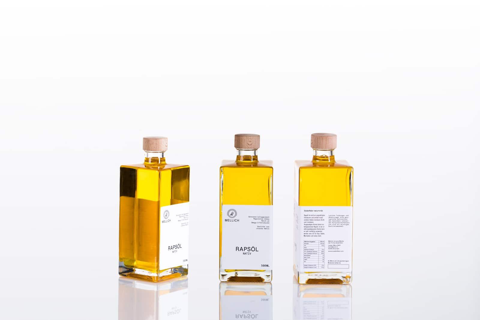 Mellich Öl Etikettengestaltung drei Perspektiven