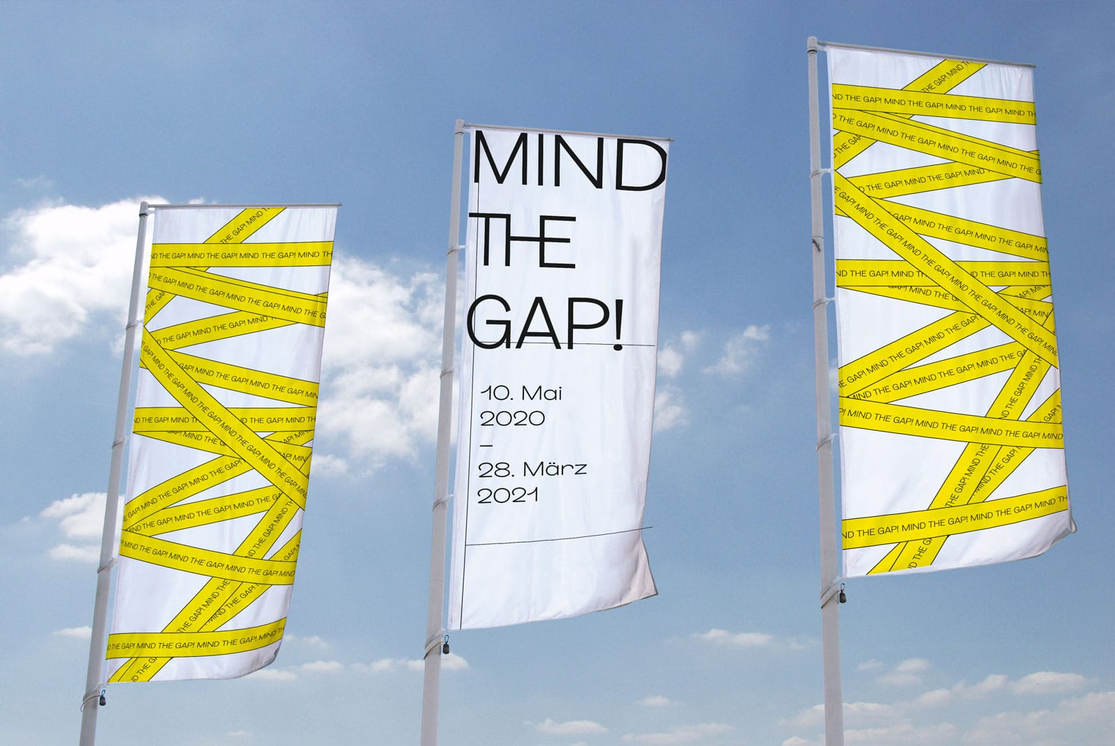 Design Flaggen für die Ausstellung Mind the Gap in Ingolstadt