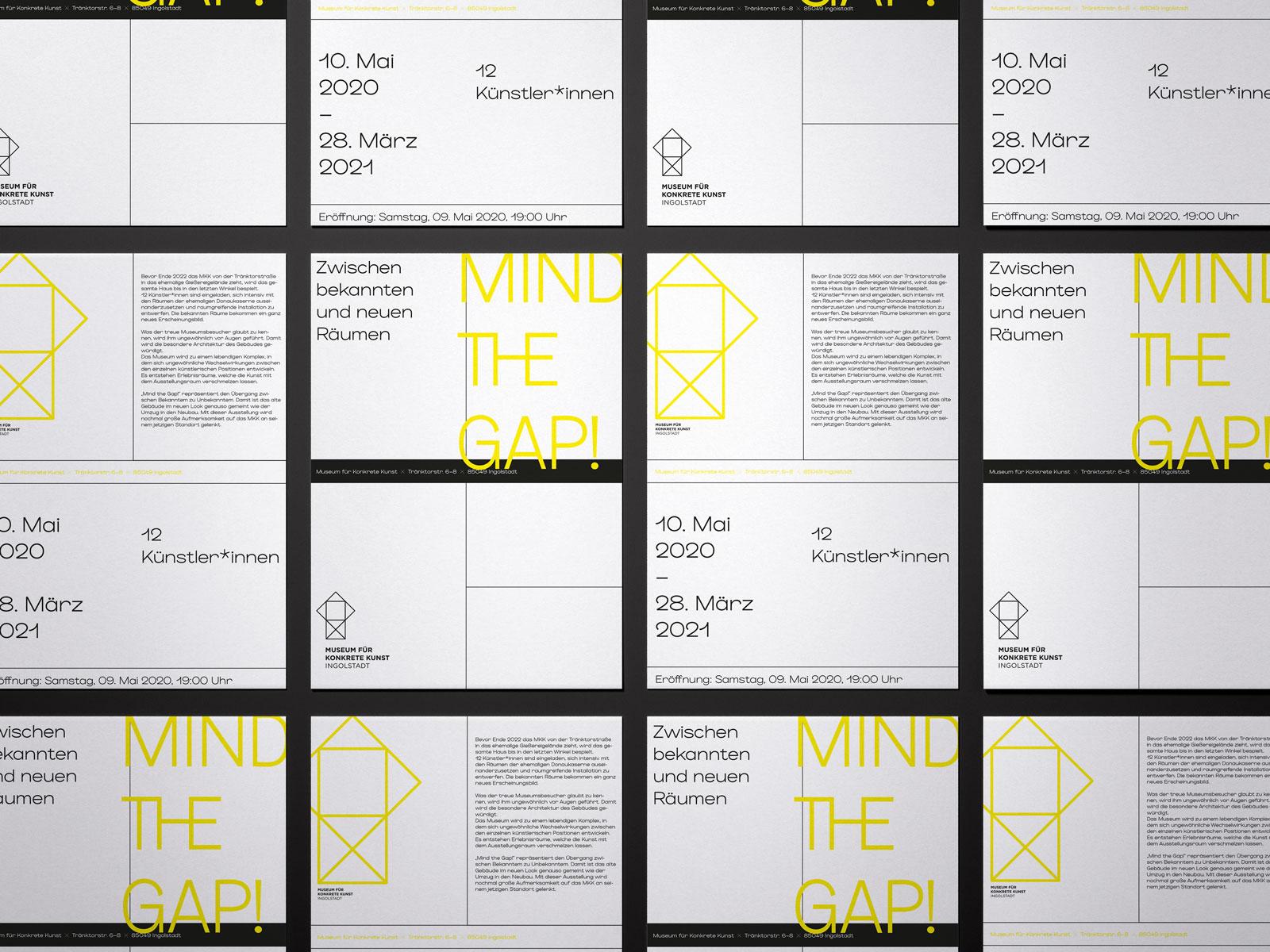 Design Flyer für die Ausstellung Mind the Gap Museum Ingolstadt