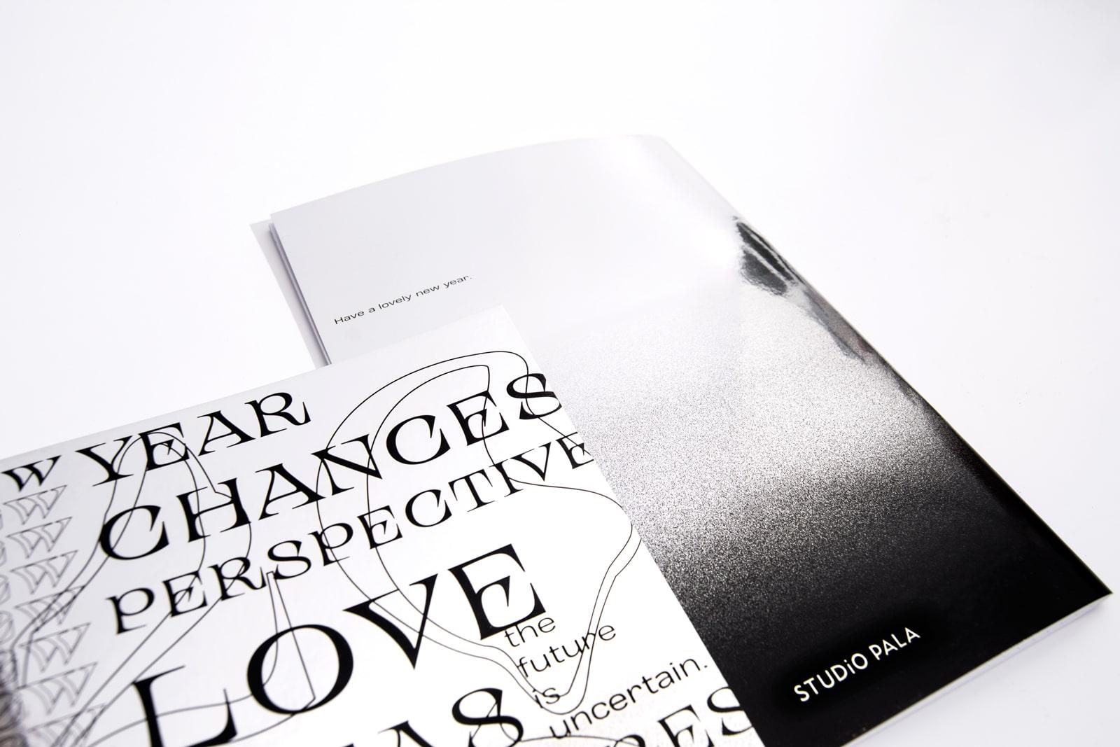 Weihnachtsaussendung Notizbuch Vorderseite und Rückseite von Studio Pala 2020