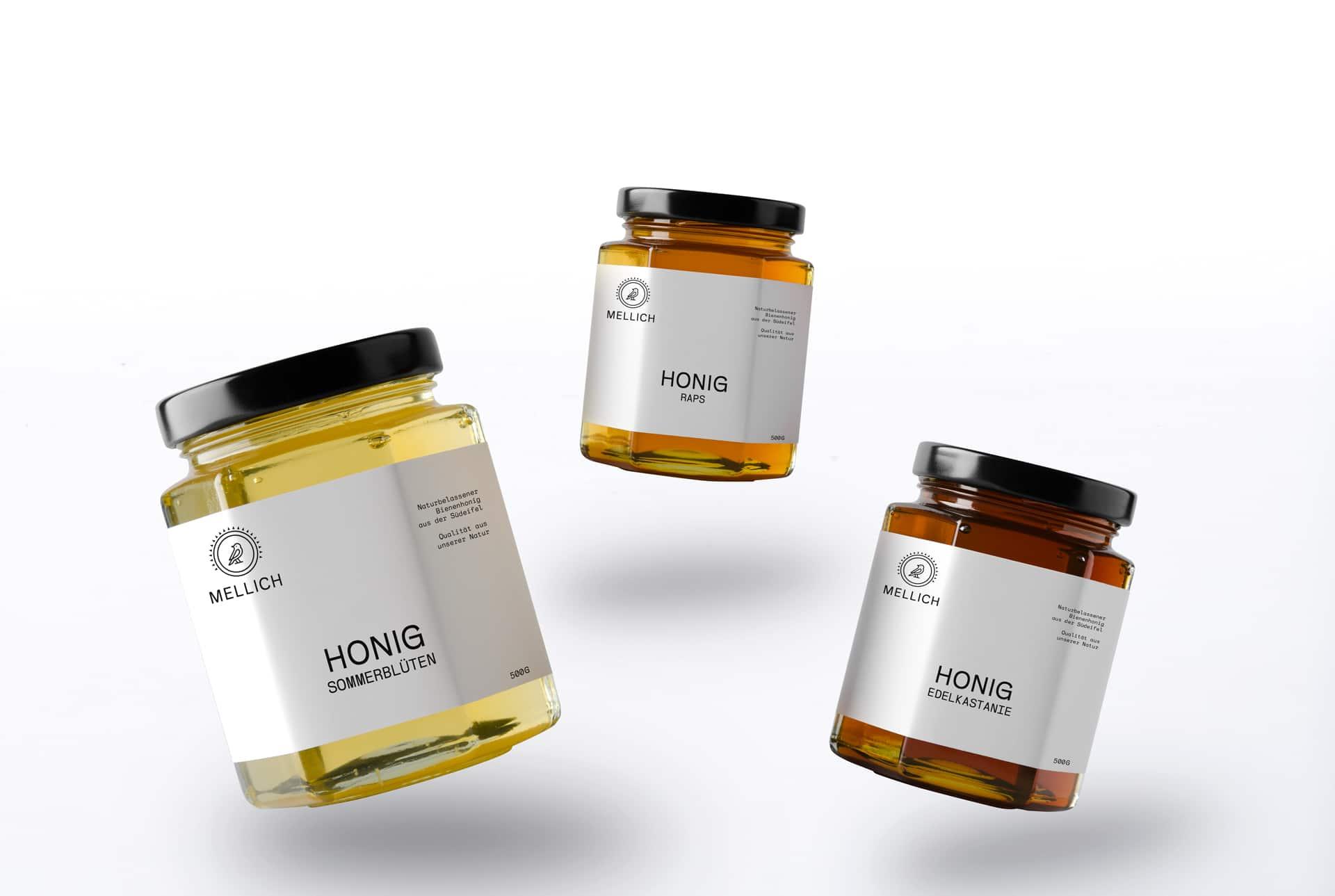 Mellich Honig Etikettendesign