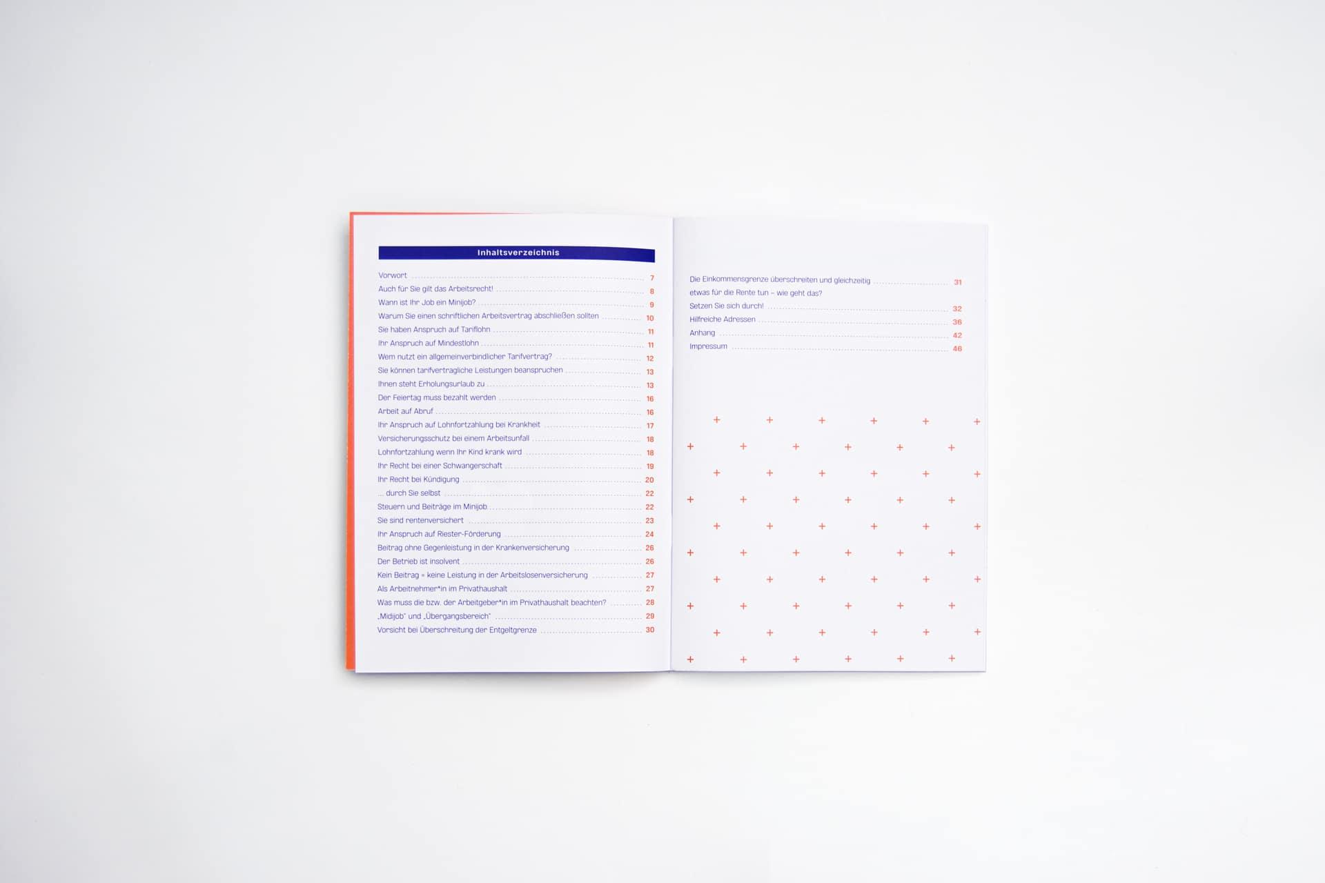 Inhaltsverzeichnis Editorial Design Minijob-Broschüre