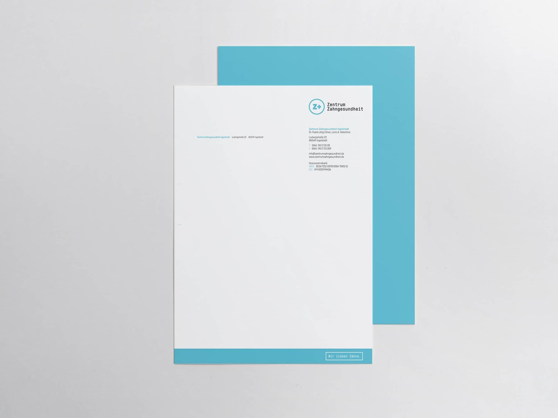 Design Briefbogen Zentrum Zahngesundheit