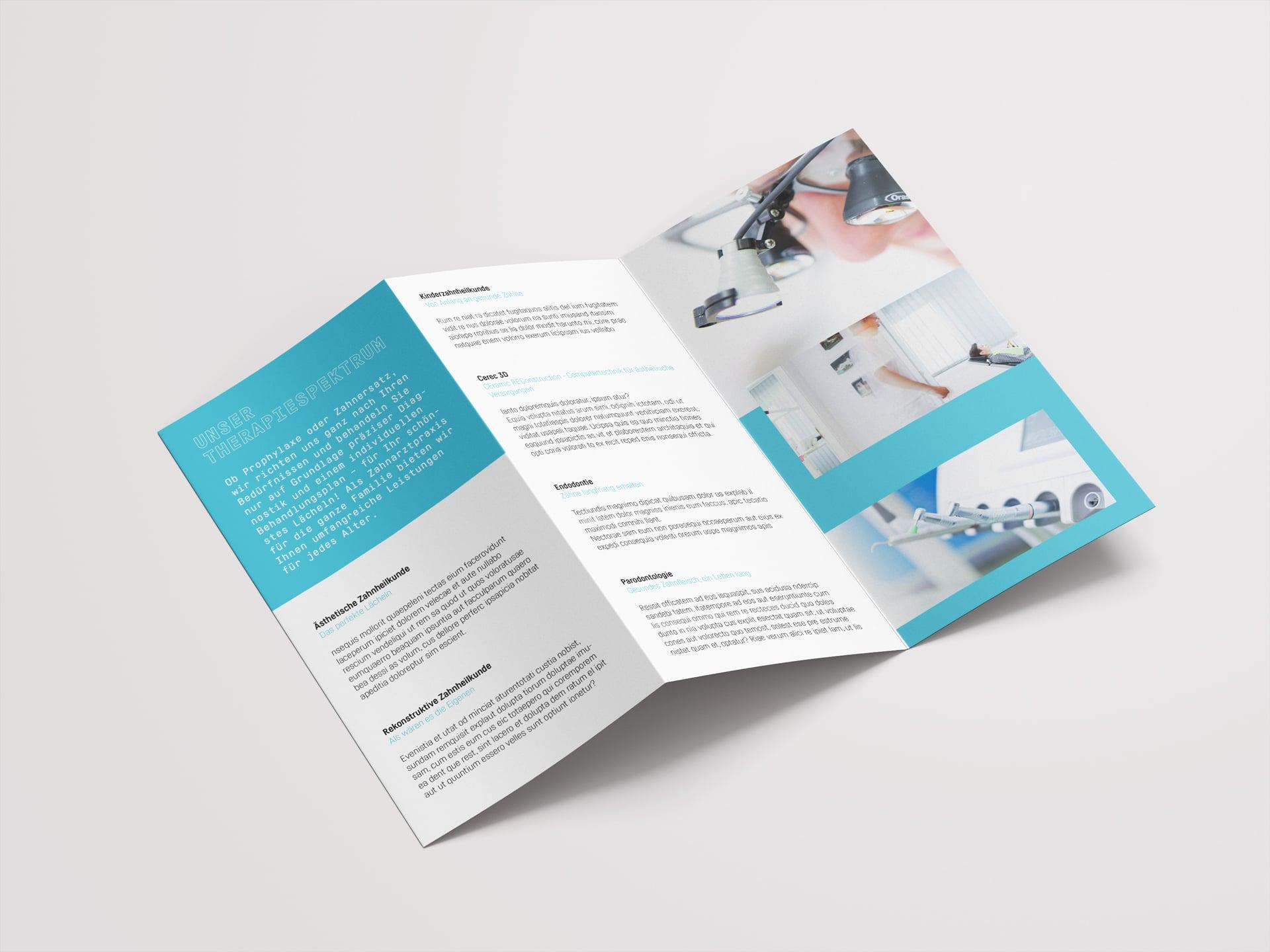 Innenseiten Folder Design Zentrum Zahngesundheit