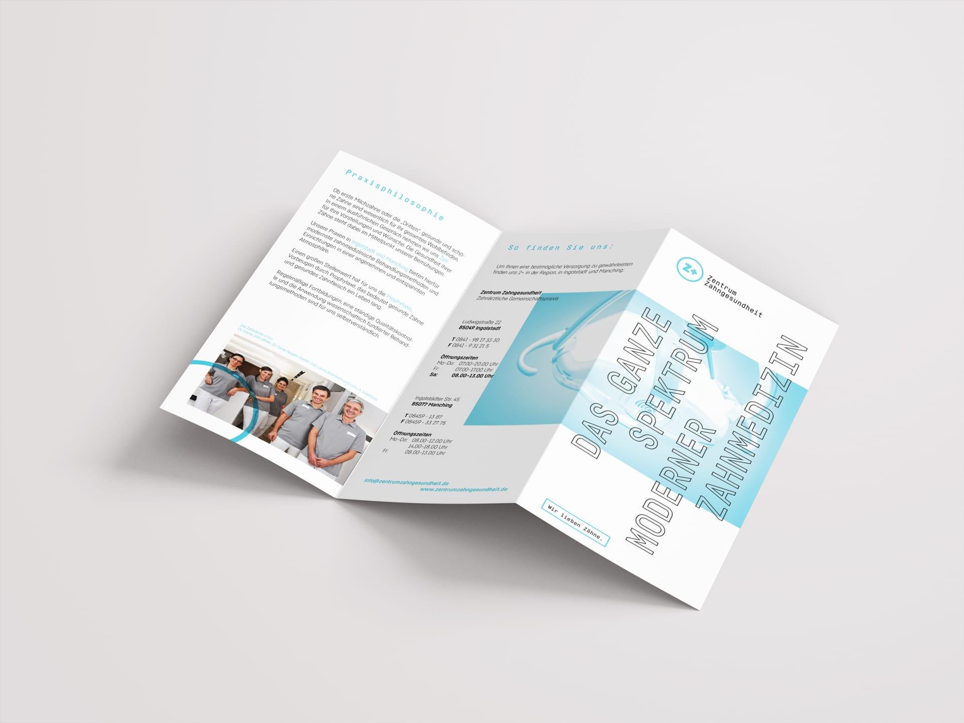 Außenseiten Folder Design Zentrum Zahngesundheit