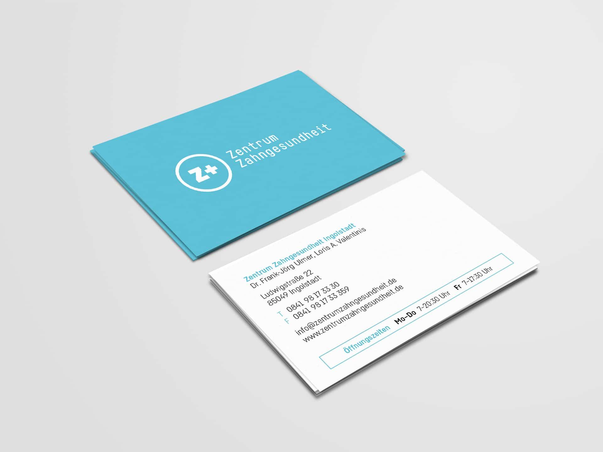 Visitenkarte Design Zentrum Zahngesundheit
