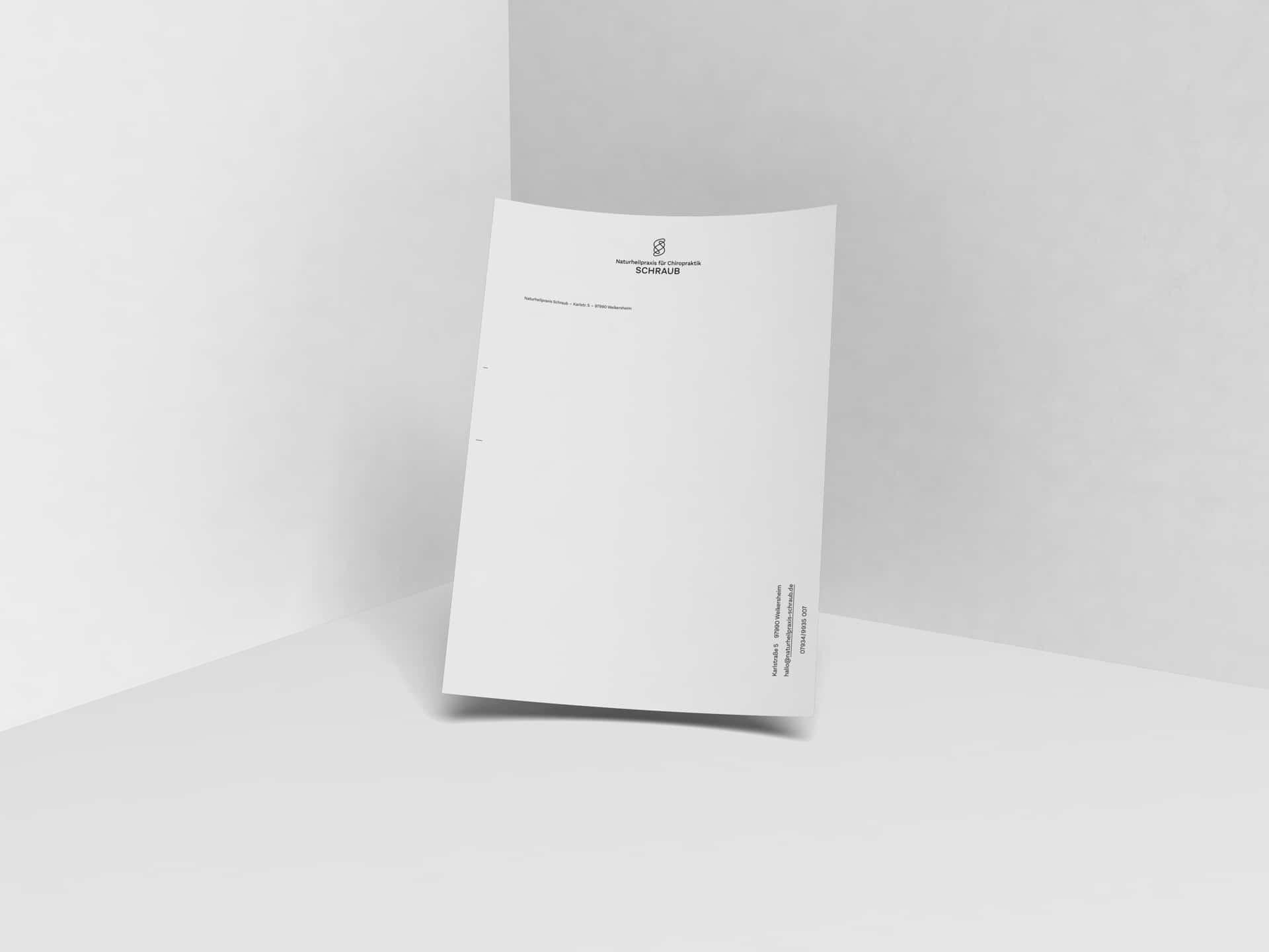 Briefbogen Design Naturheilpraxis für Chiropraktik Schraub