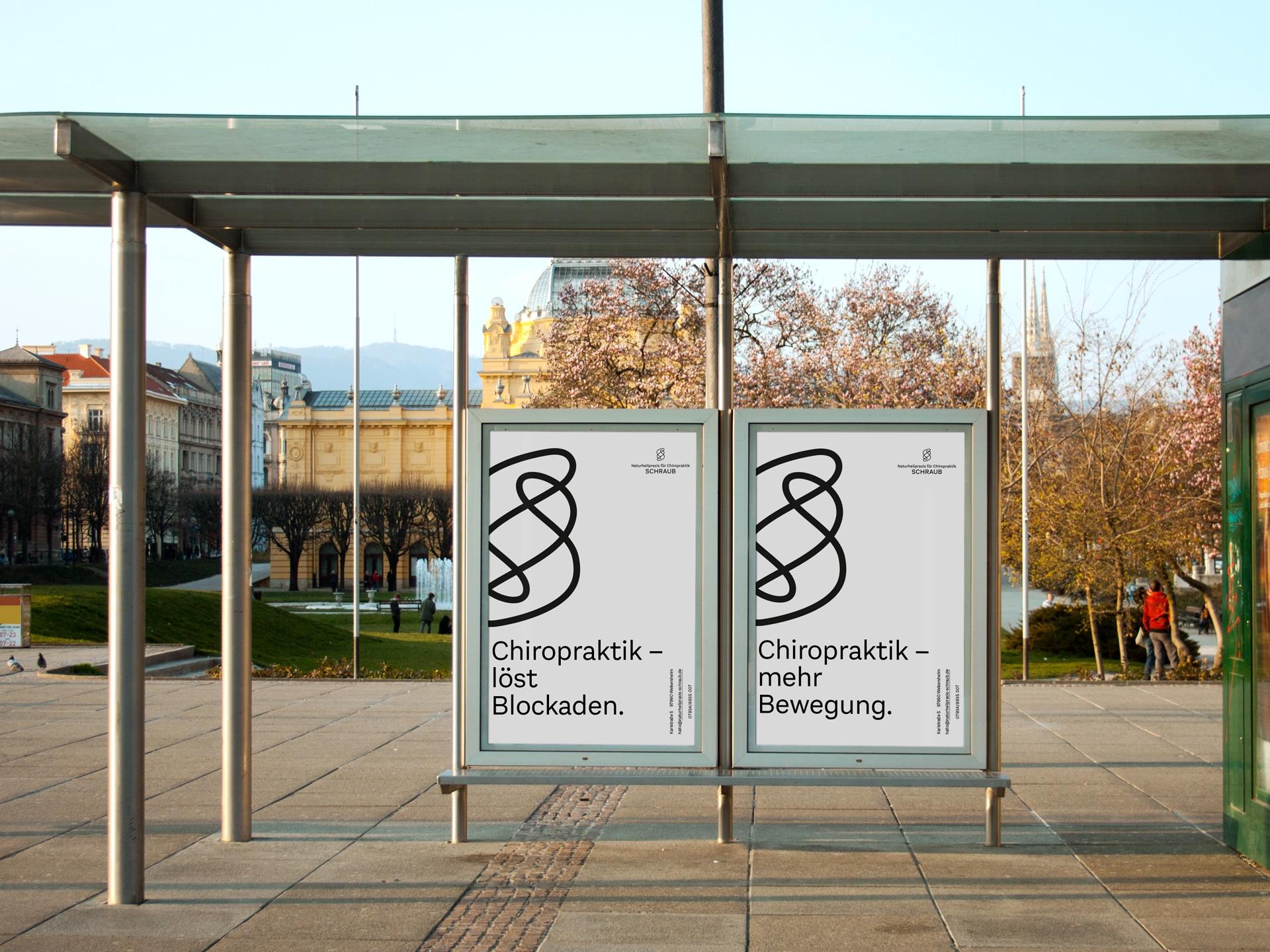 Citylight Plakate Kampagnendesign Naturheilpraxis für Chiropraktik Schraub