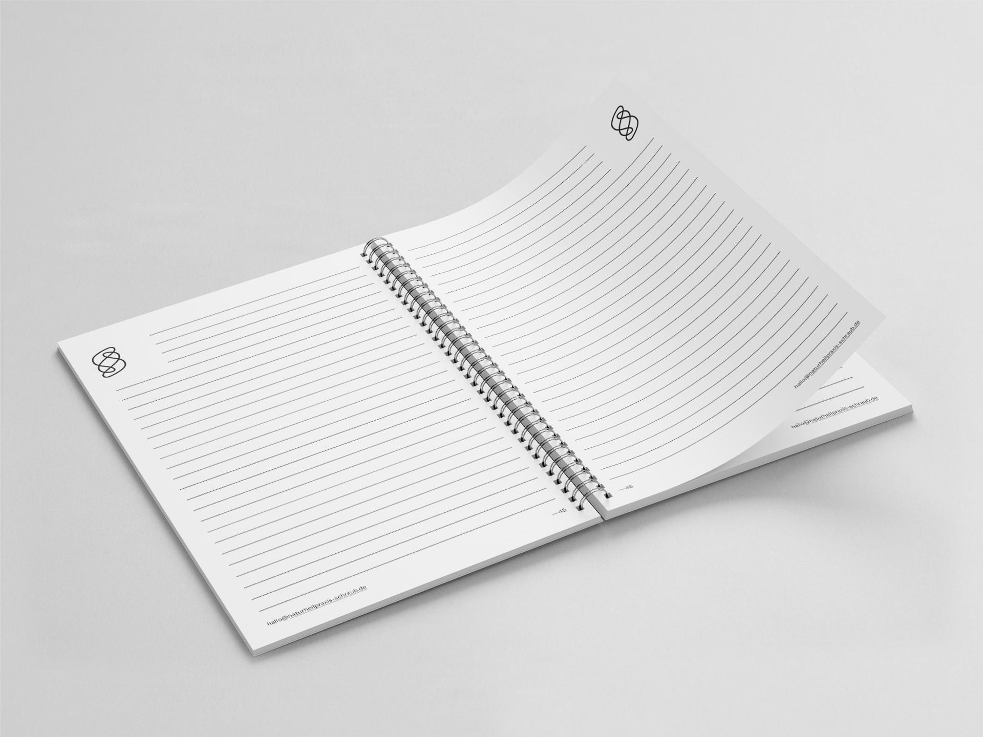 Notizblock Innenseiten Design Naturheilpraxis für Chiropraktik Schraub