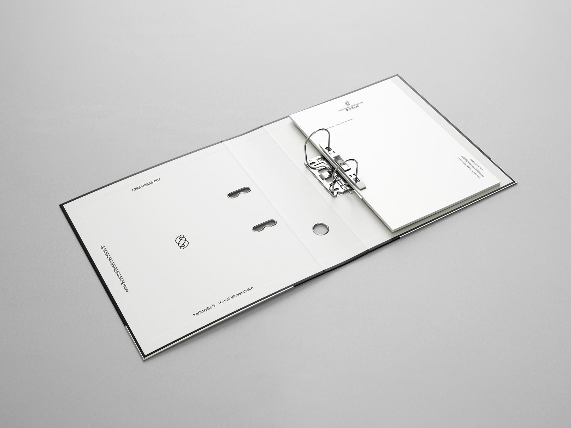 Ordner mit Briefbogen Design Naturheilpraxis für Chiropraktik Schraub
