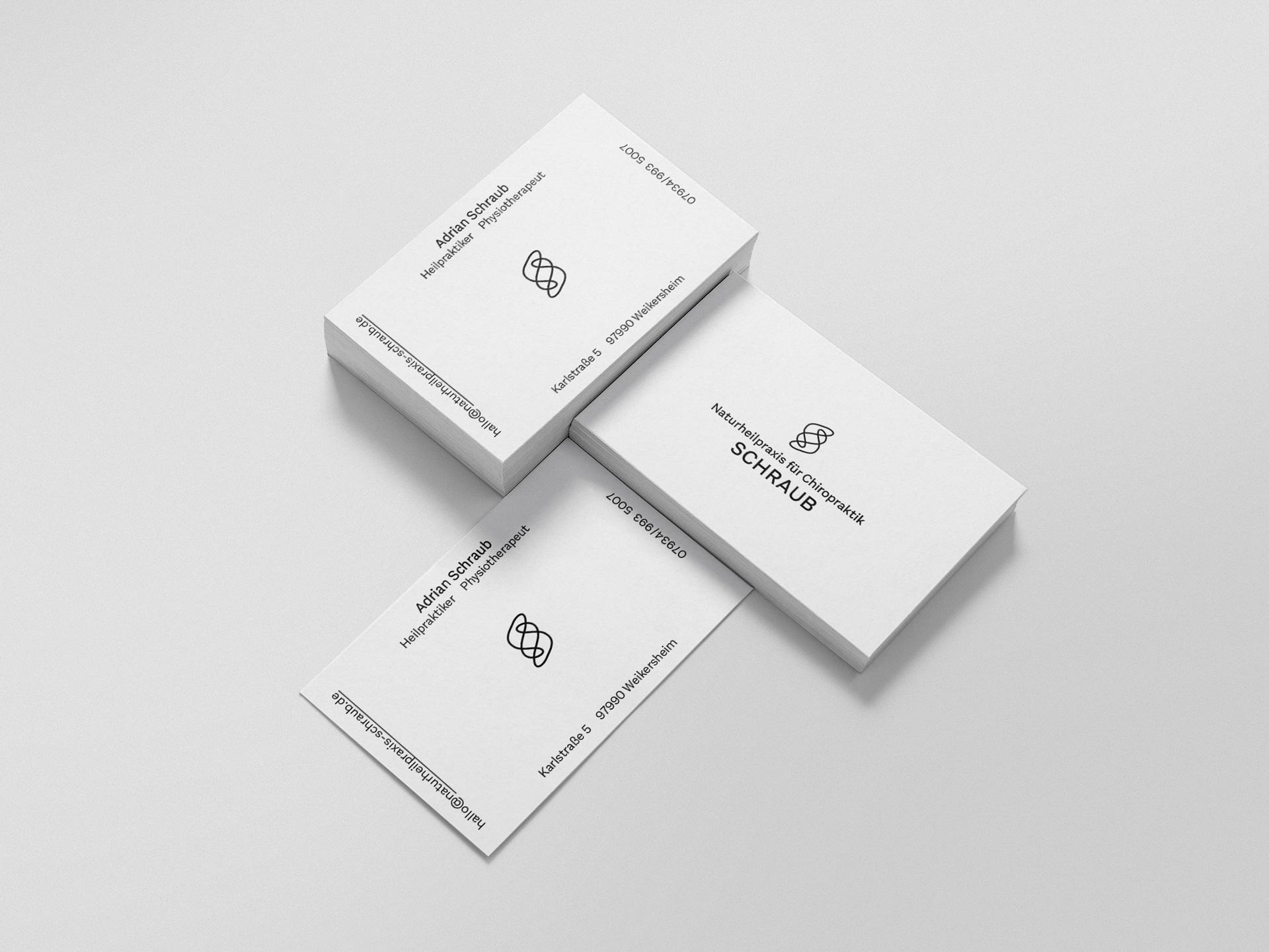Visitenkarten Design Naturheilpraxis für Chiropraktik Schraub
