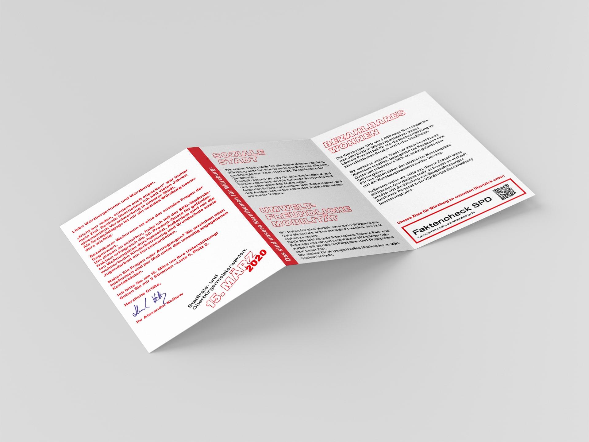 SPD Würzburg Kommunalwahl-Kampagne Design Kandidatenflyer Innenseiten