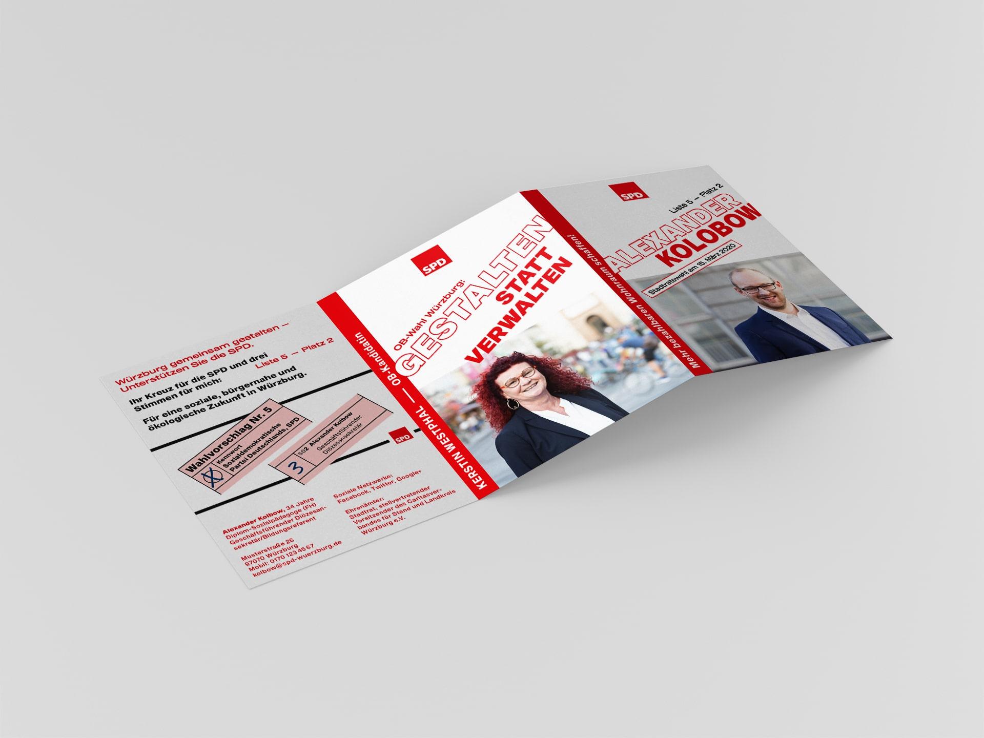 SPD Würzburg Kommunalwahl-Kampagne Design Kandidatenflyer