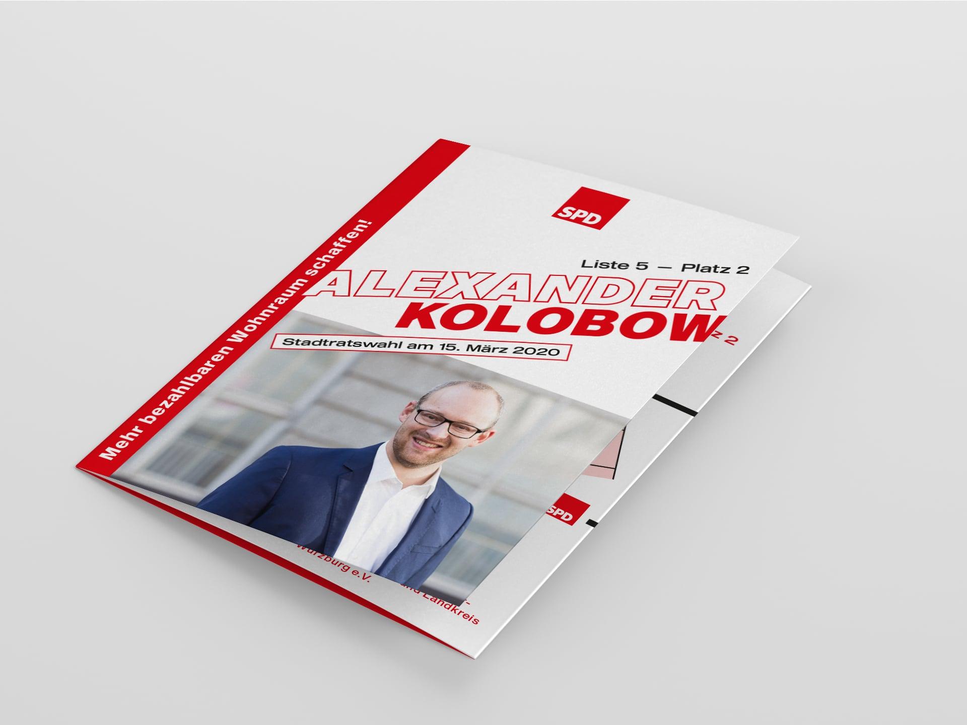 SPD Würzburg Kommunalwahl-Kampagne Design Kandidaten-Flyer Kolbow