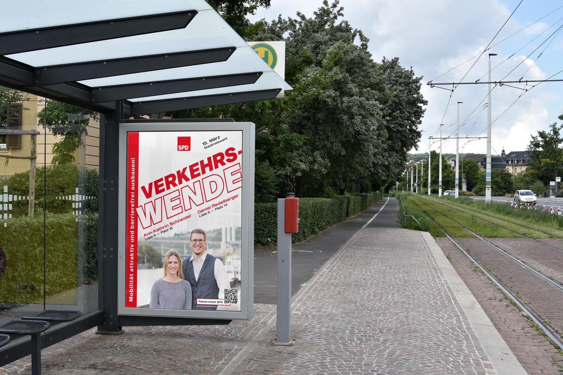 SPD Würzburg Kommunalwahl-Kampagne Design Citylight-Plakat Verkehrswende