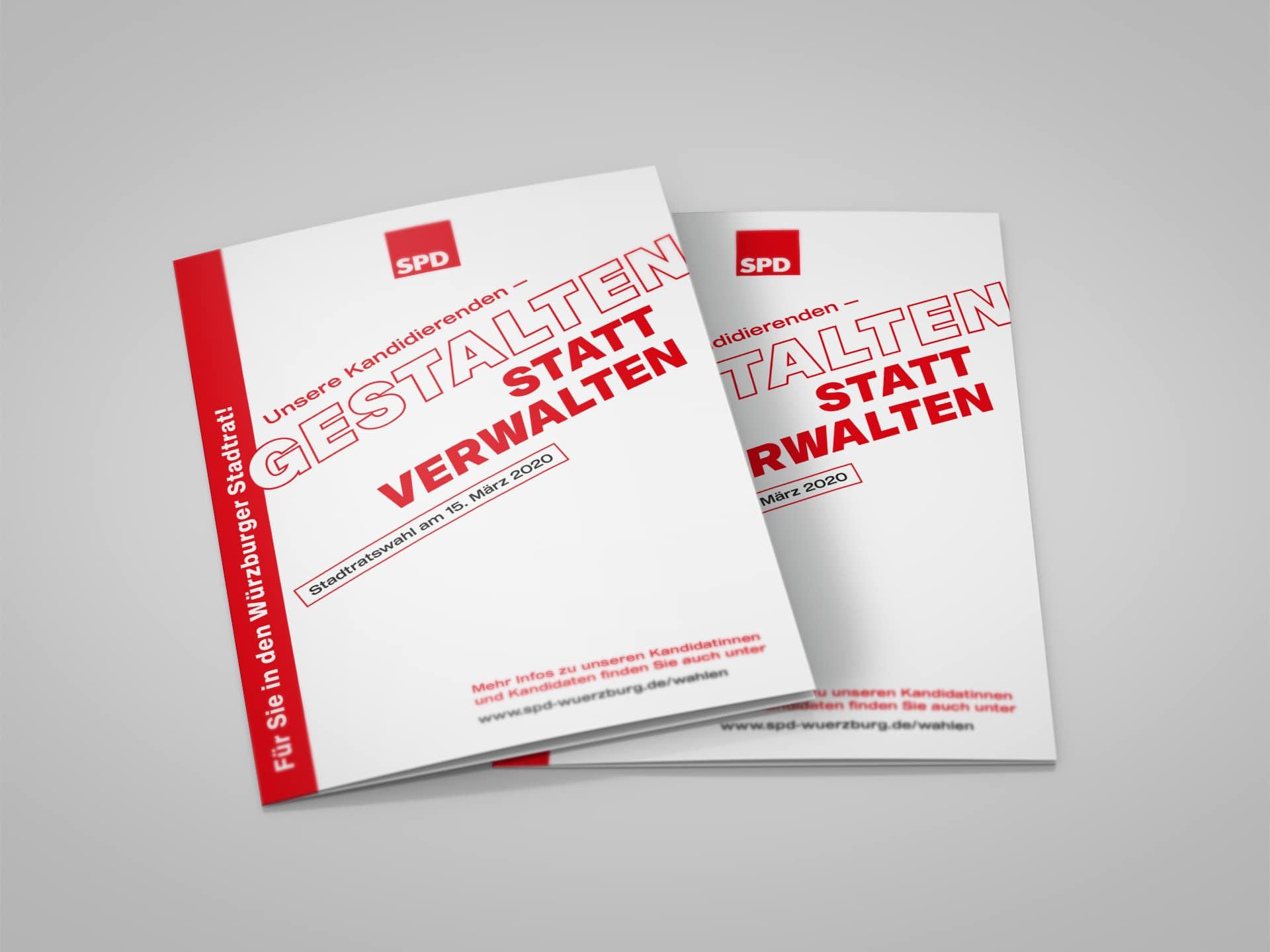 SPD Würzburg Kommunalwahl-Kampagne Design Titel Folder Kandidierene