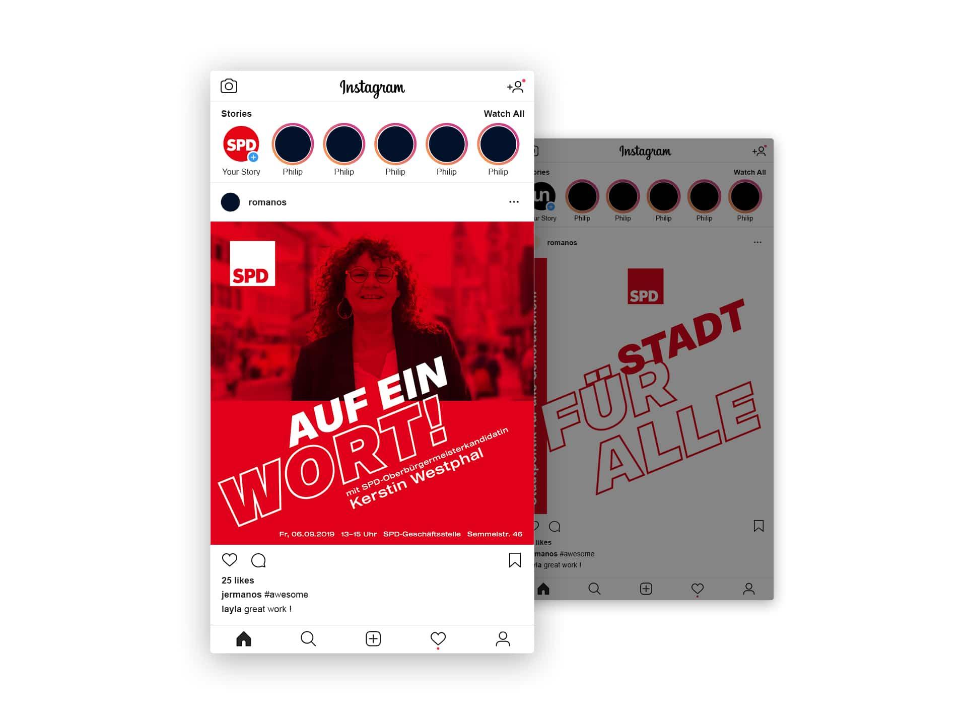 SPD Würzburg Kommunalwahl-Kampagne Layout Instagram-Post