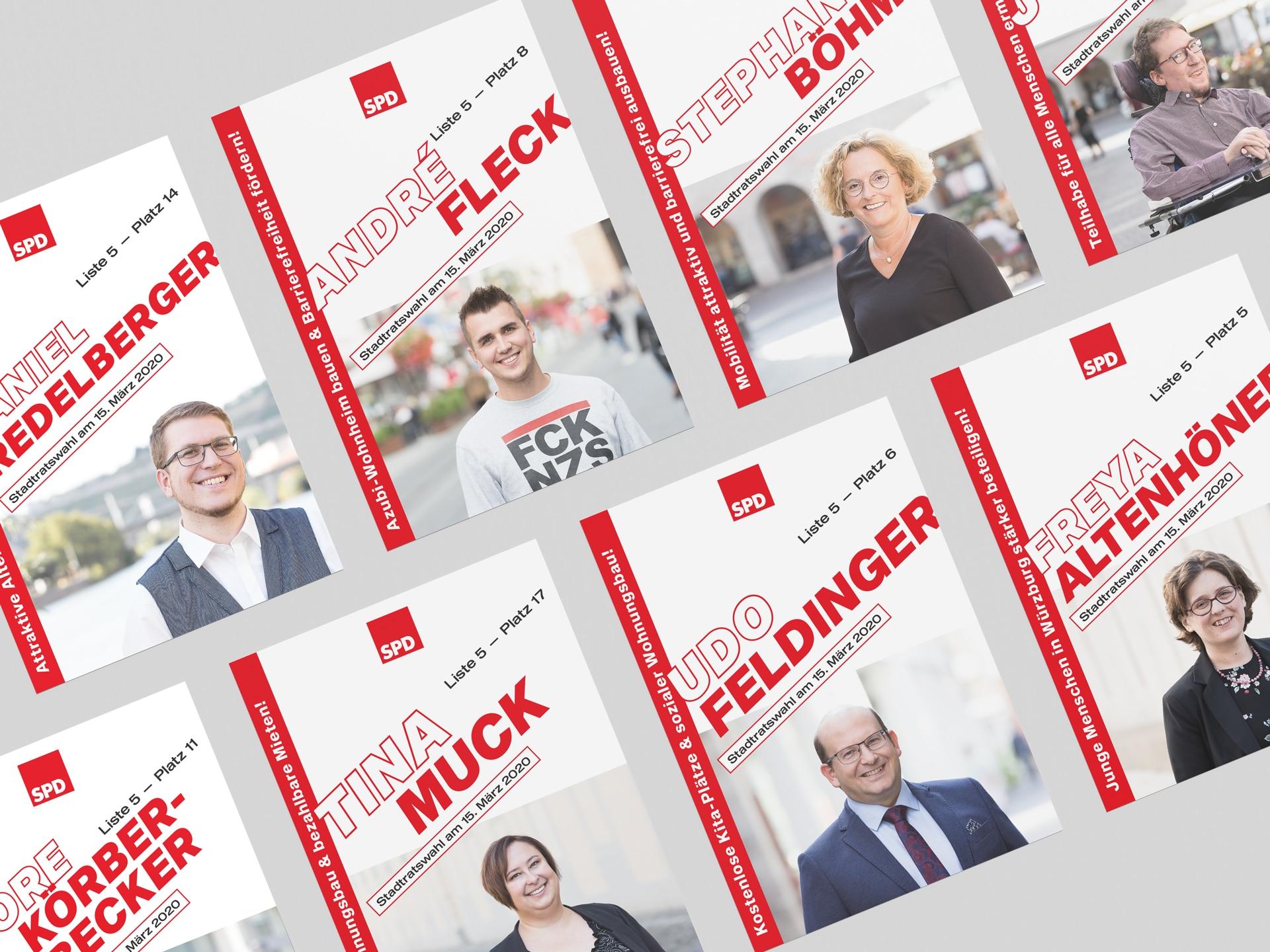 SPD Würzburg Kommunalwahl-Kampagne Design Kandidatenflyer Übersicht