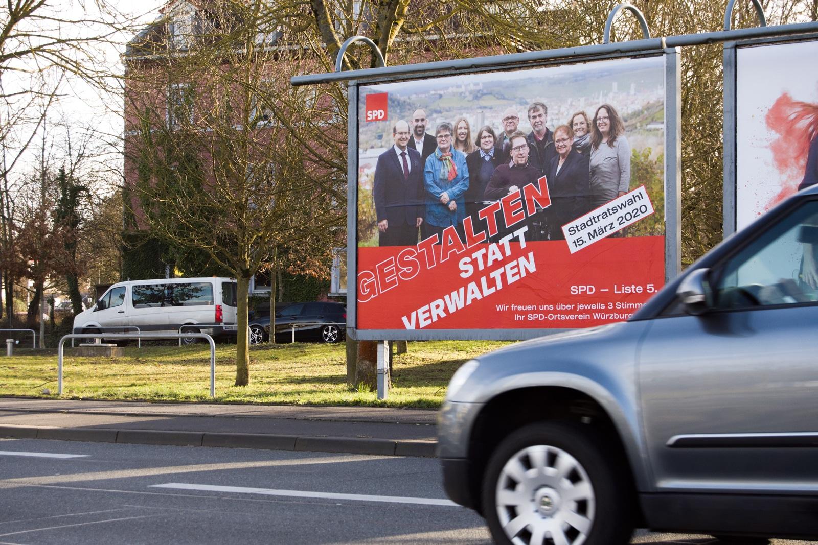 SPD Würzburg Kommunalwahl-Kampagne Design Großflächenplakat Stadtratswahl