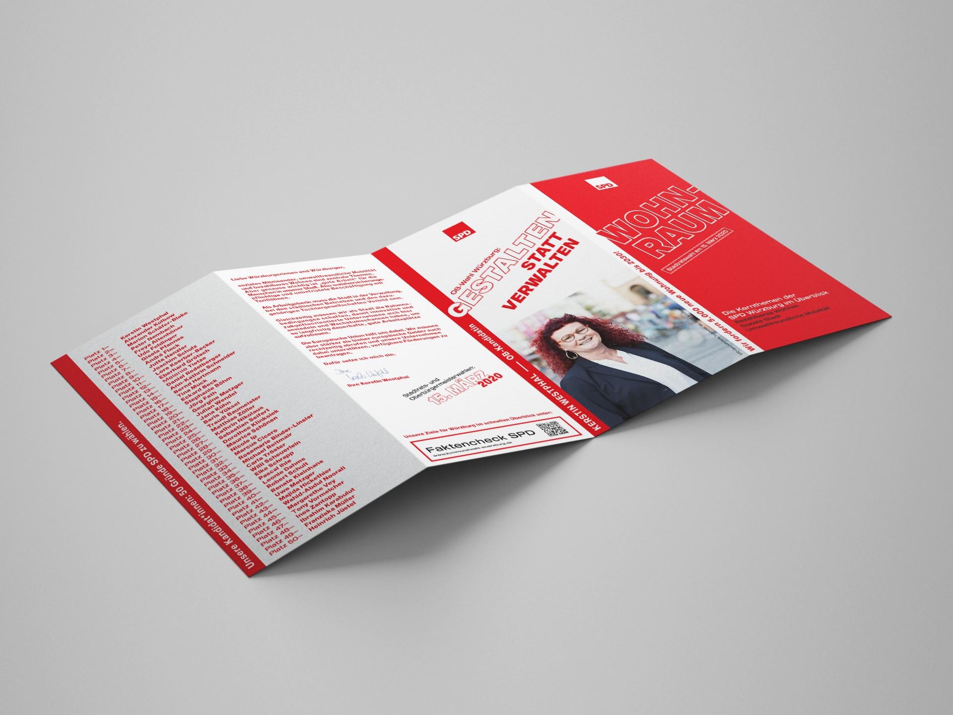 SPD Würzburg Kommunalwahl-Kampagne Design Themenflyer Inhalt