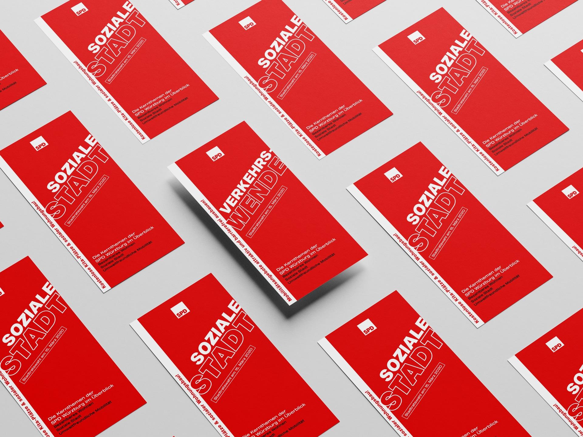 SPD Würzburg Kommunalwahl-Kampagne Design Themenflyer
