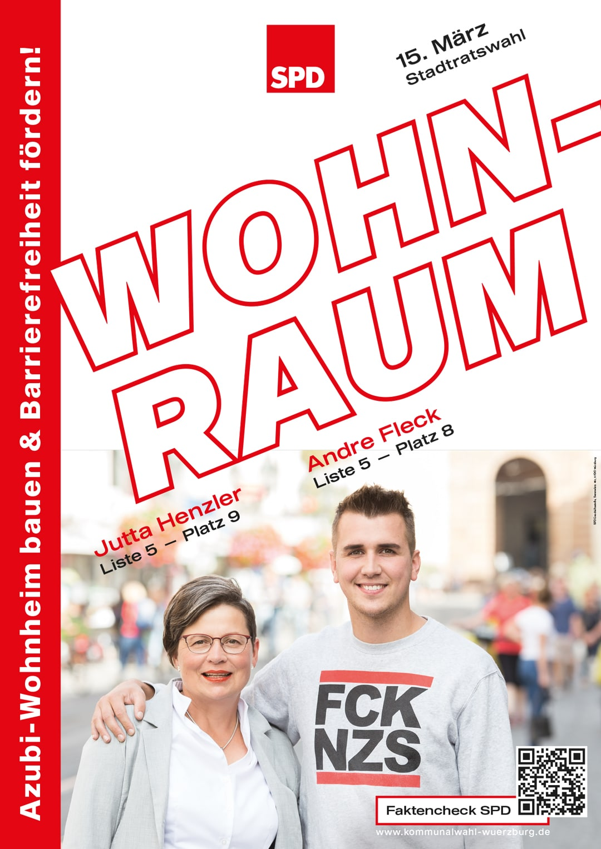 SPD Würzburg Kommunalwahl-Kampagne Design Wahlplakat Wohnraum
