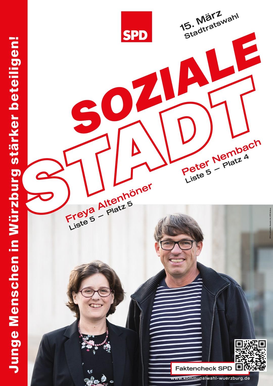 SPD Würzburg Kommunalwahl-Kampagne Design Wahlplakat Soziale Stadt
