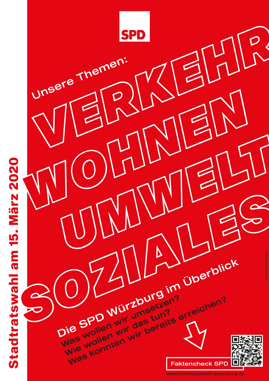 SPD Würzburg Kommunalwahl-Kampagne Design Wahlplakat Themen