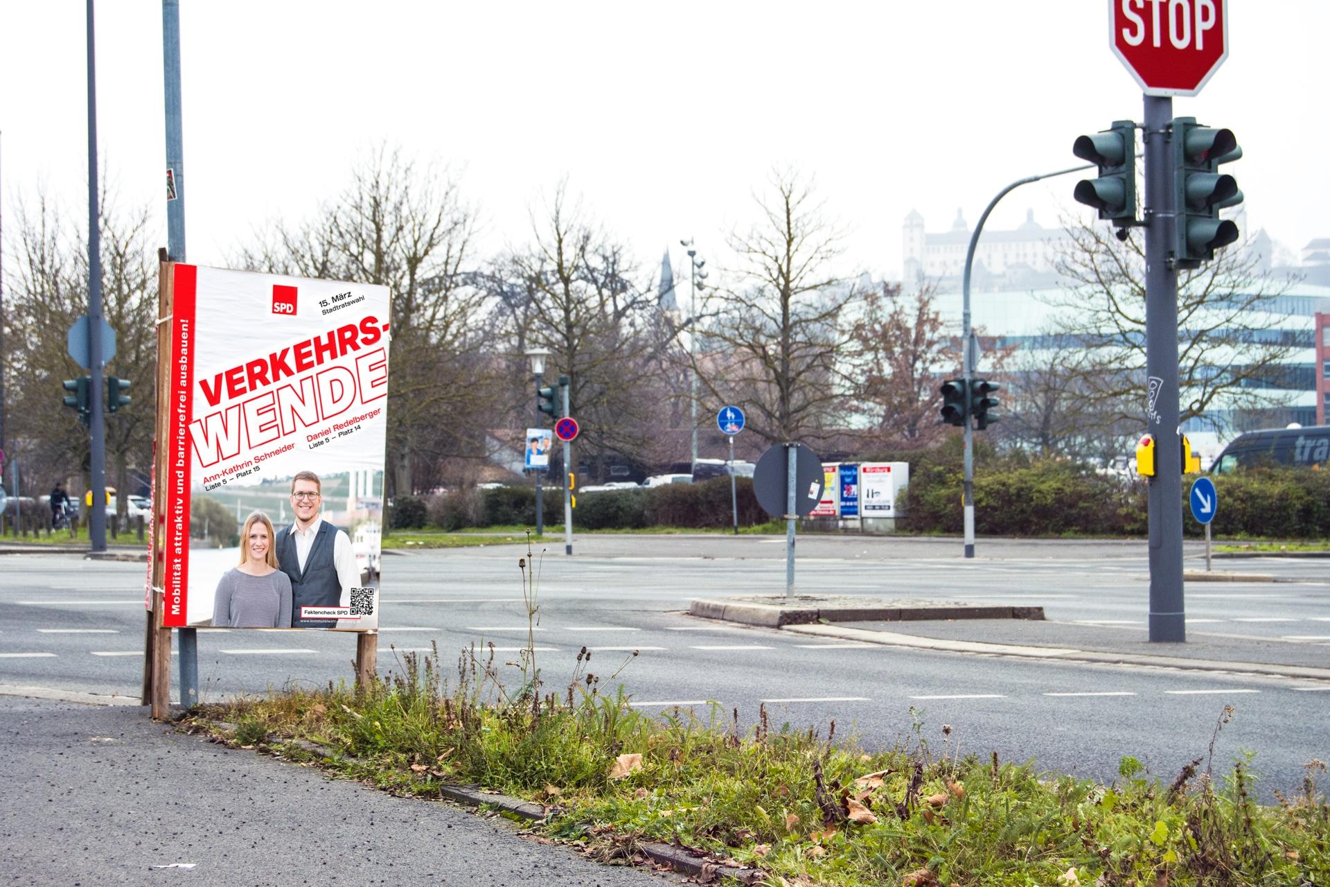 SPD Würzburg Kommunalwahl-Kampagne Design Wahlplakat Verkehrswende