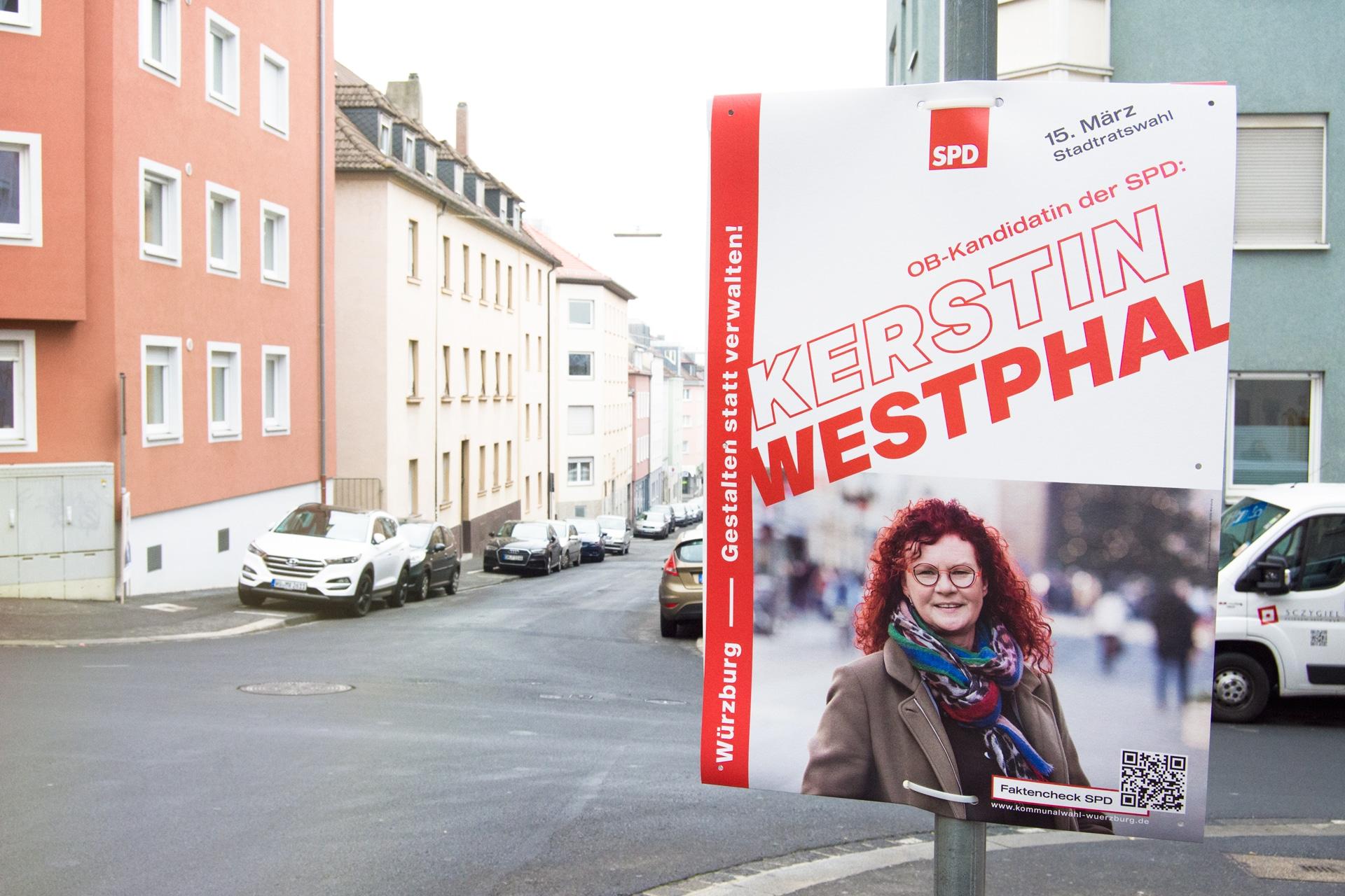 SPD Würzburg Kommunalwahl-Kampagne Design Wahlplakat OB-Kandidatin Westphal