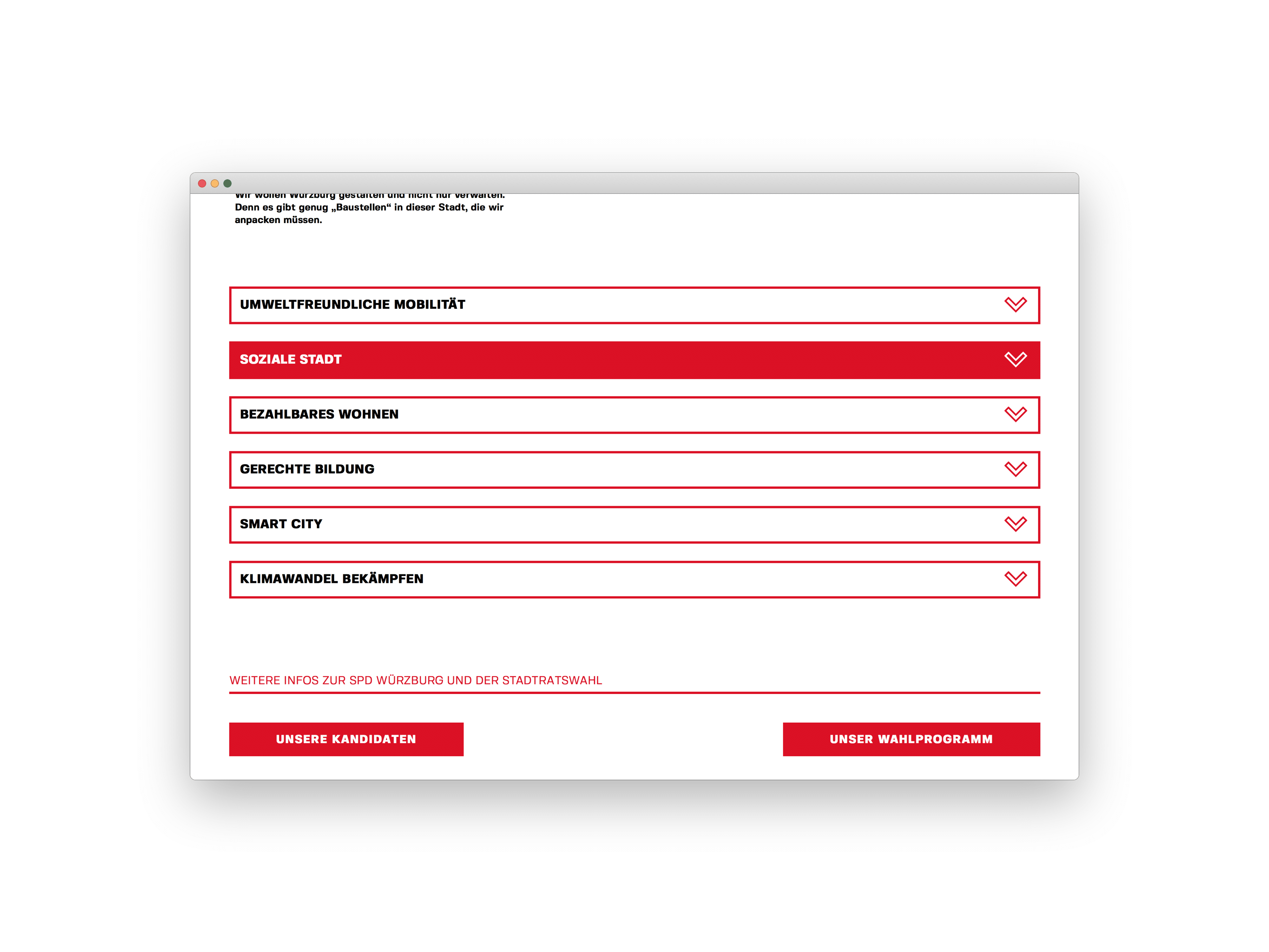 SPD Würzburg Kommunalwahl-Kampagne Design Landingpage Screen