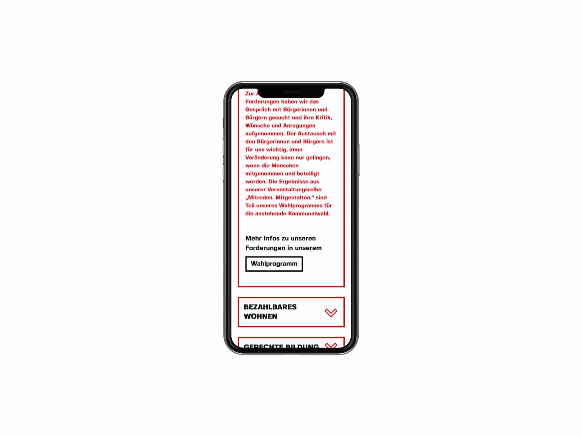 SPD Würzburg Kommunalwahl-Kampagne Design Landingpage mobil